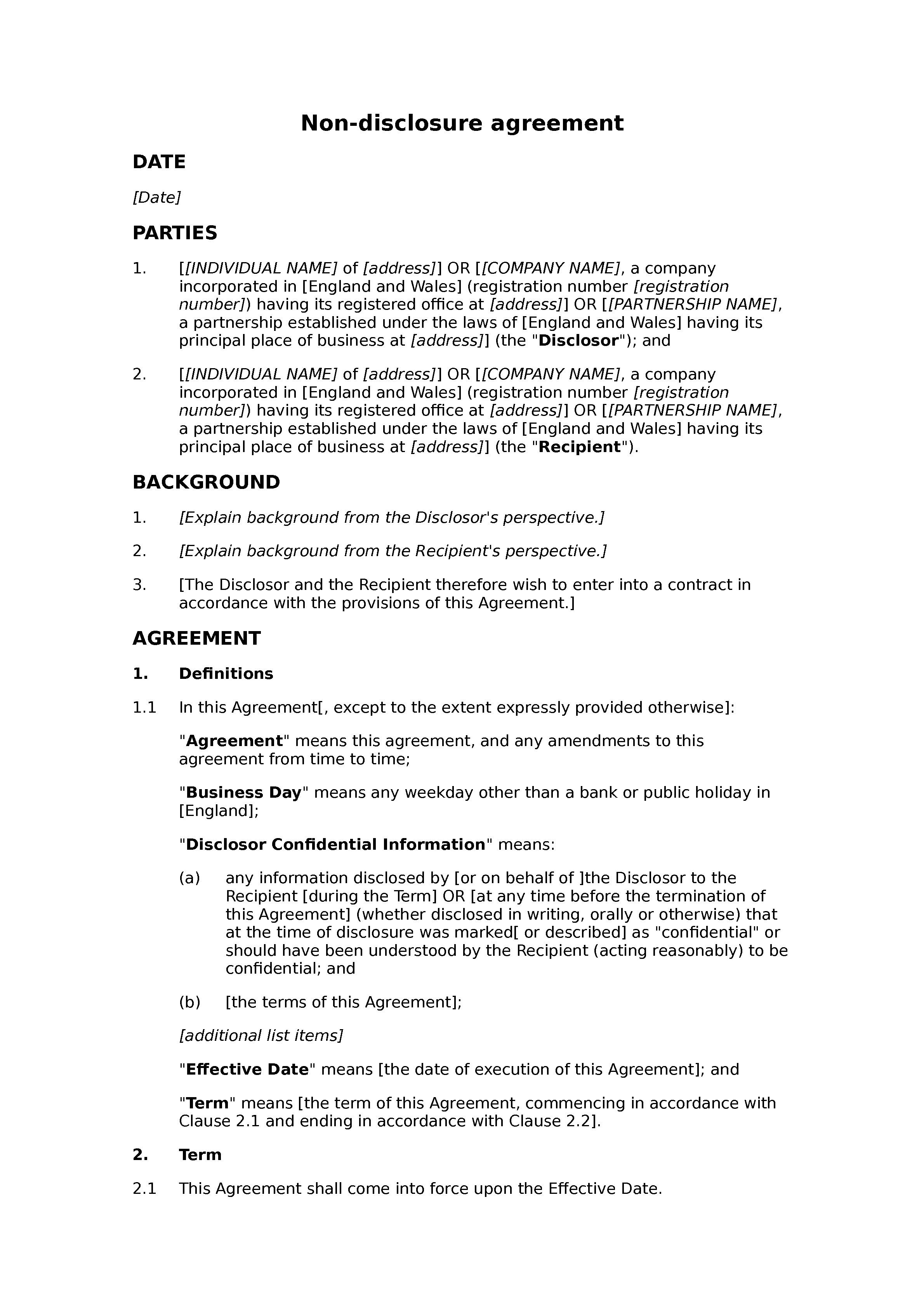 Non-disclosure agreement (unilateral, premium) document preview