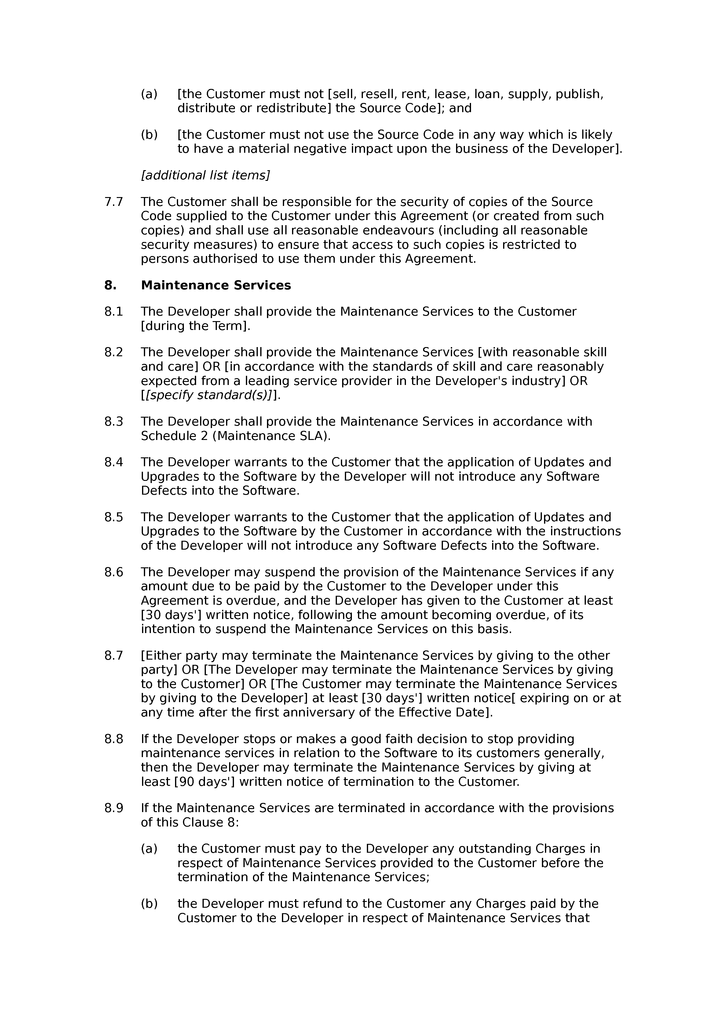 Software development, licence, support and maintenance agreement (standard) document preview