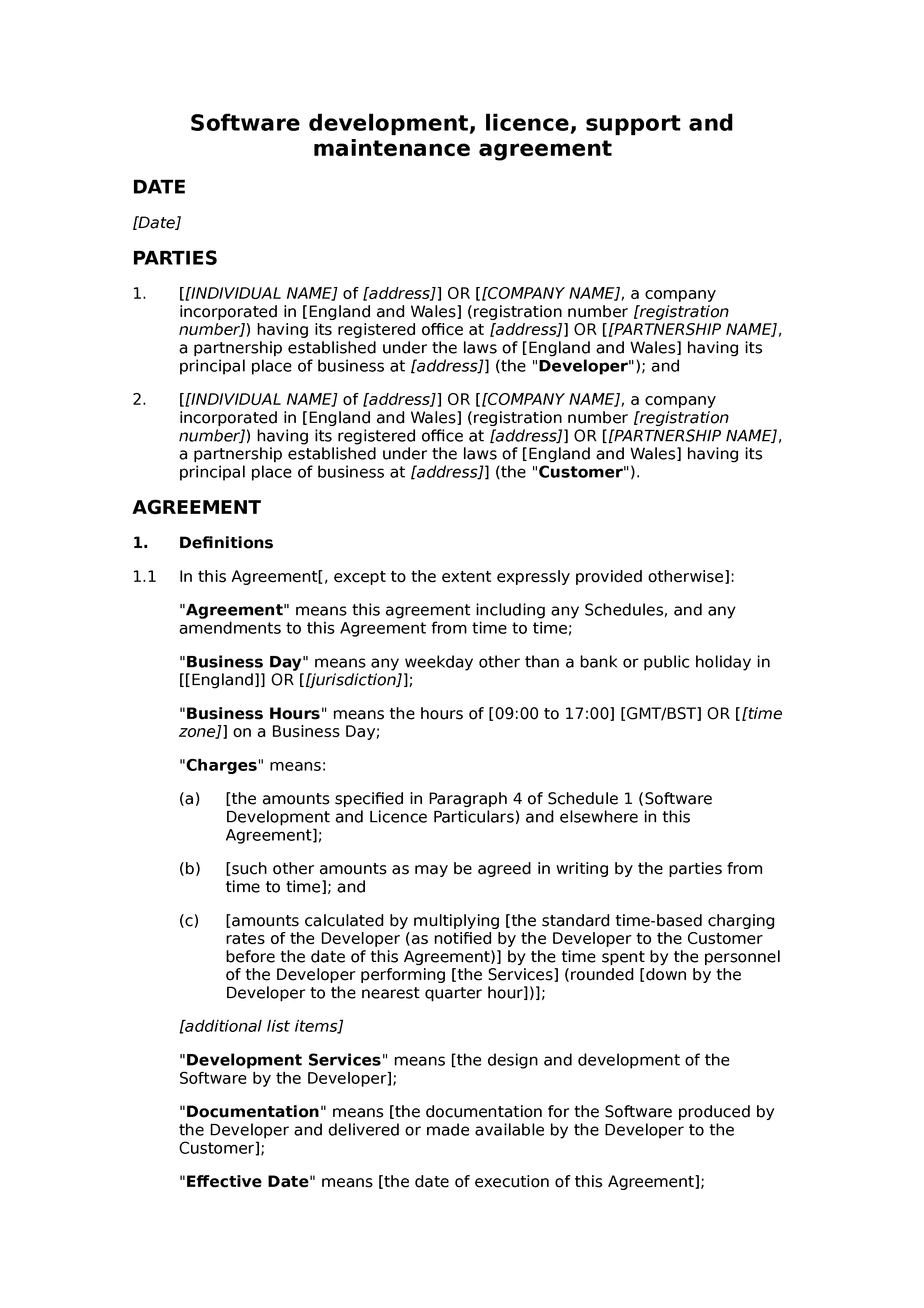 Software development, licence, support and maintenance agreement (basic) document preview