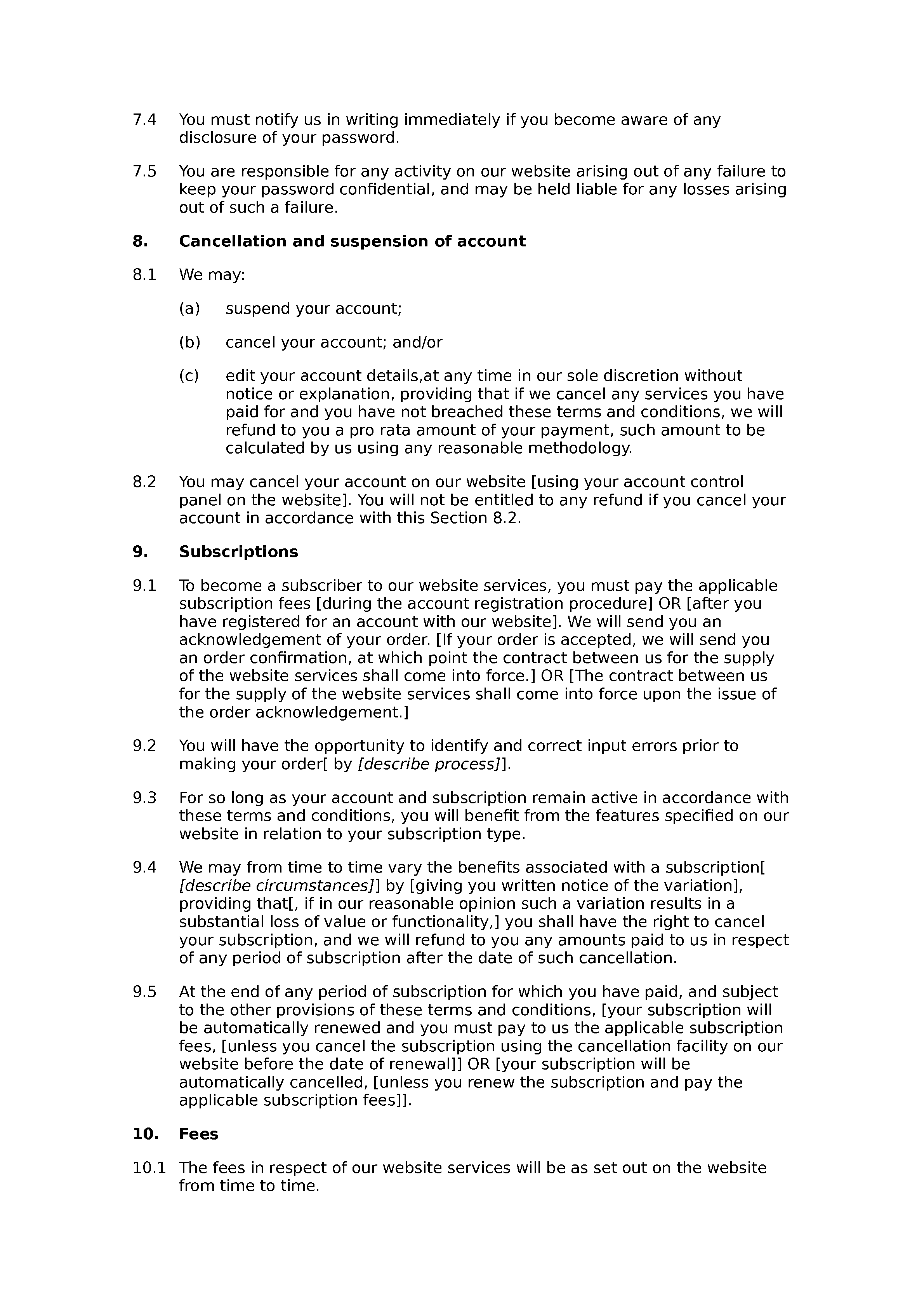 Legal subscription website terms and conditions document preview