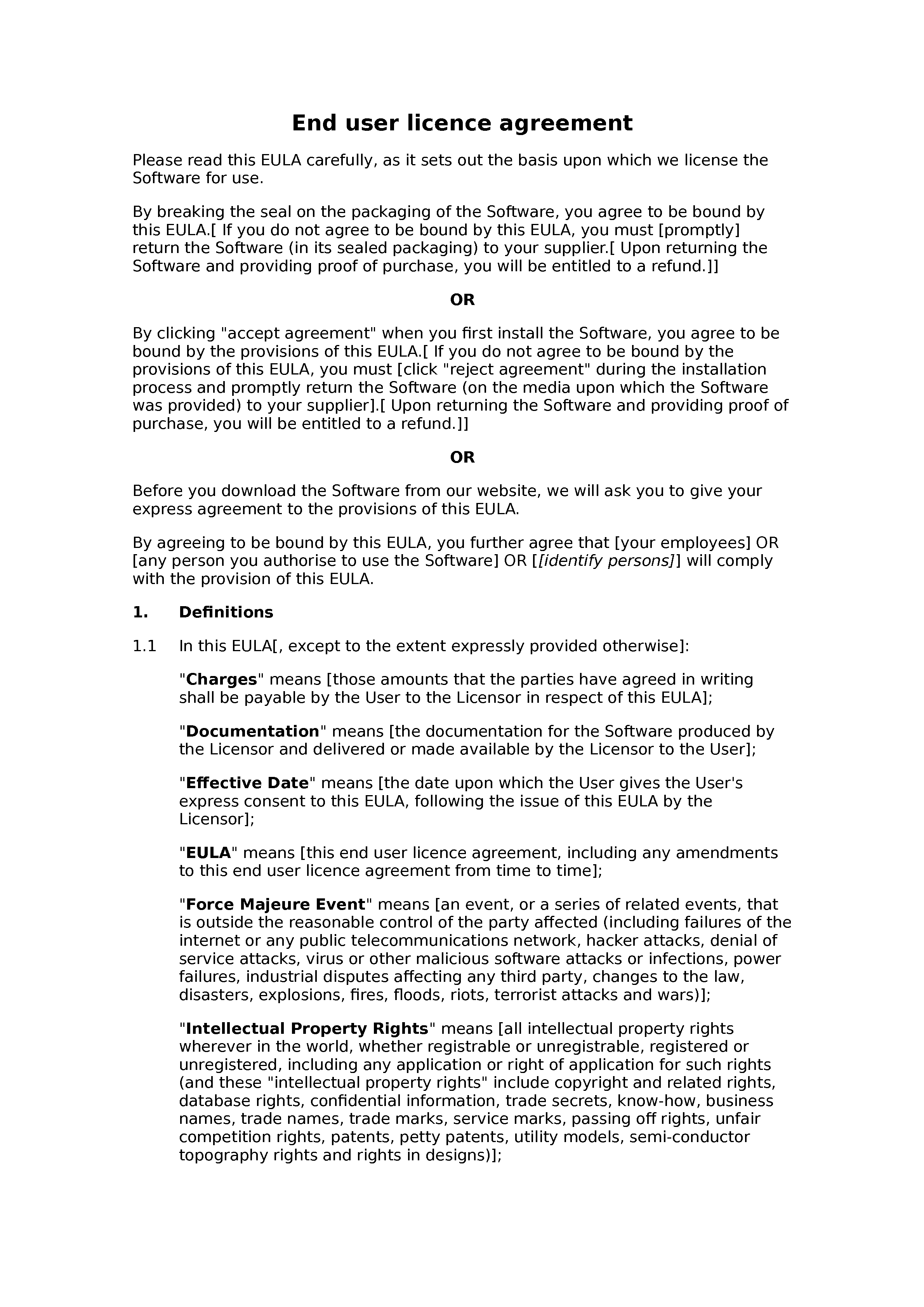 End user licence agreement document preview