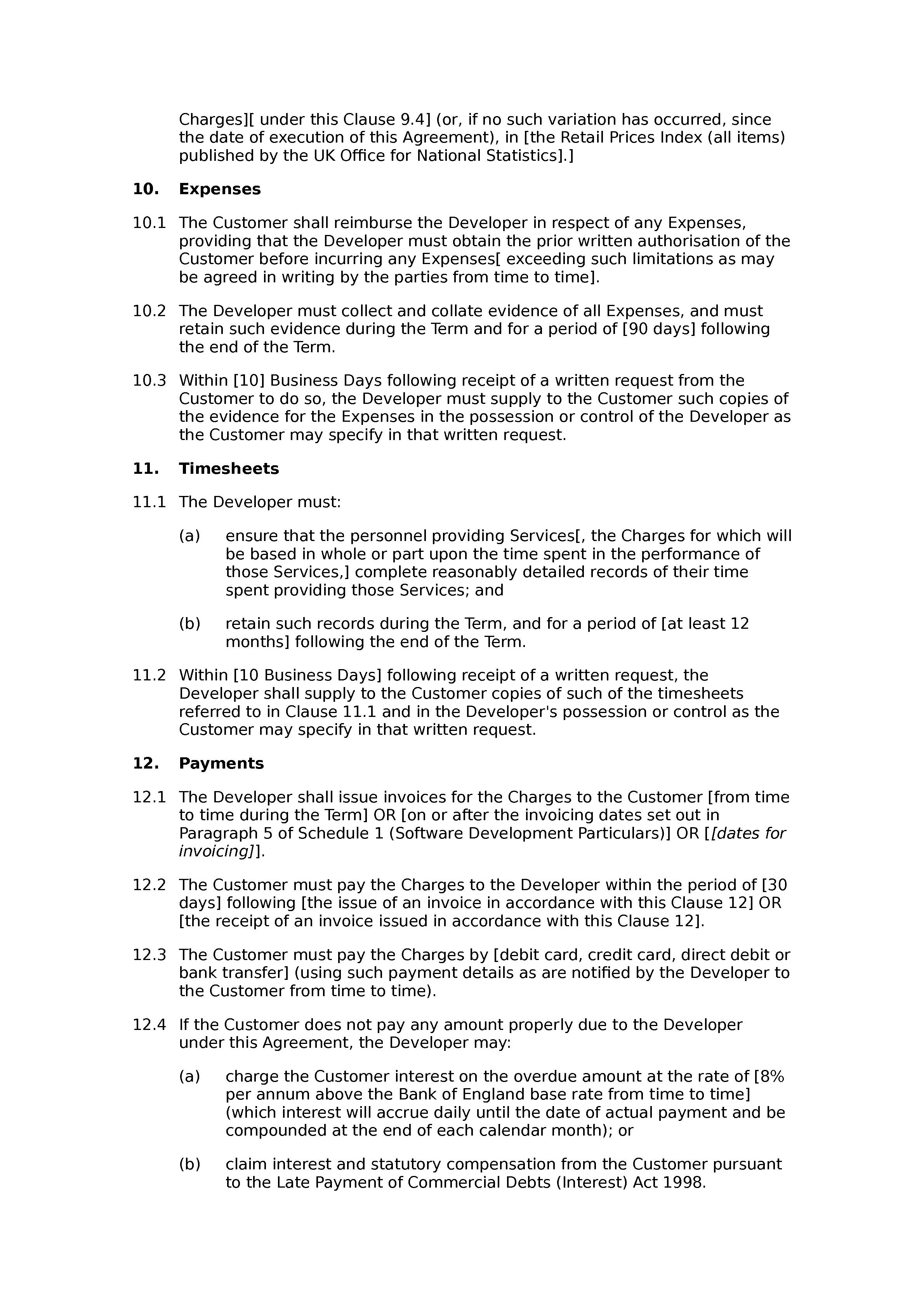 Software development agreement (standard) document preview