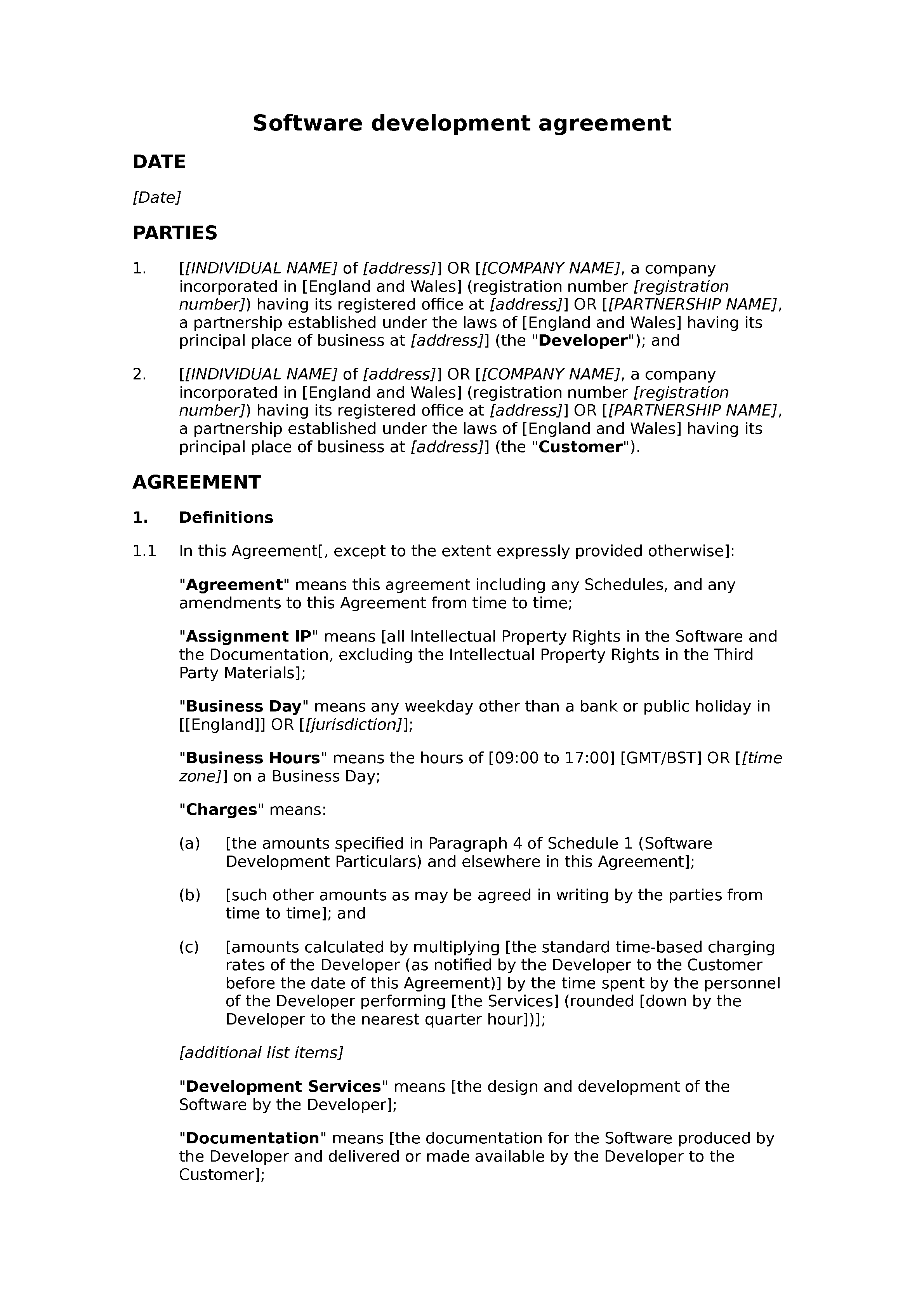 Software development agreement (basic) document preview