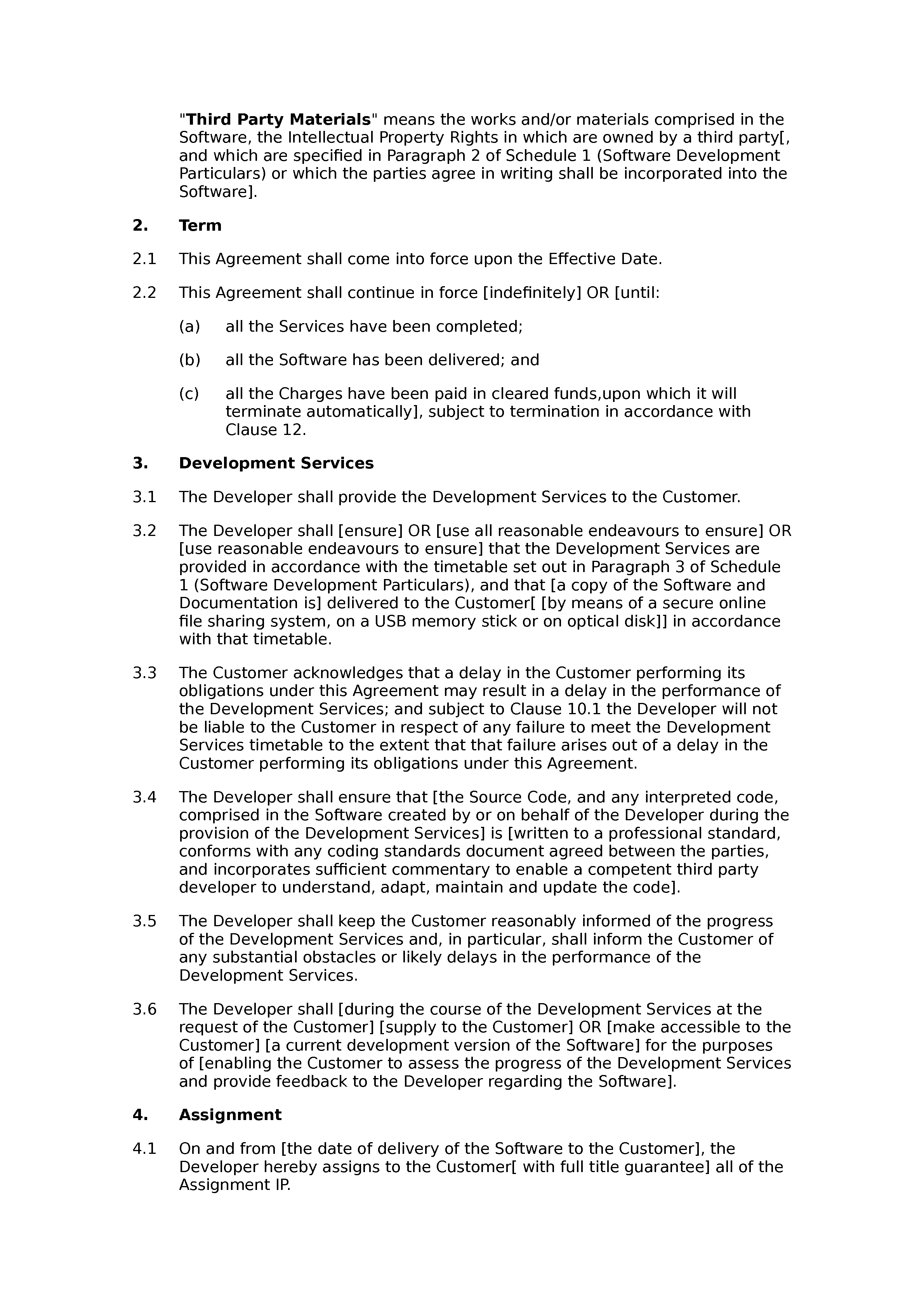 Software development agreement (basic) document preview