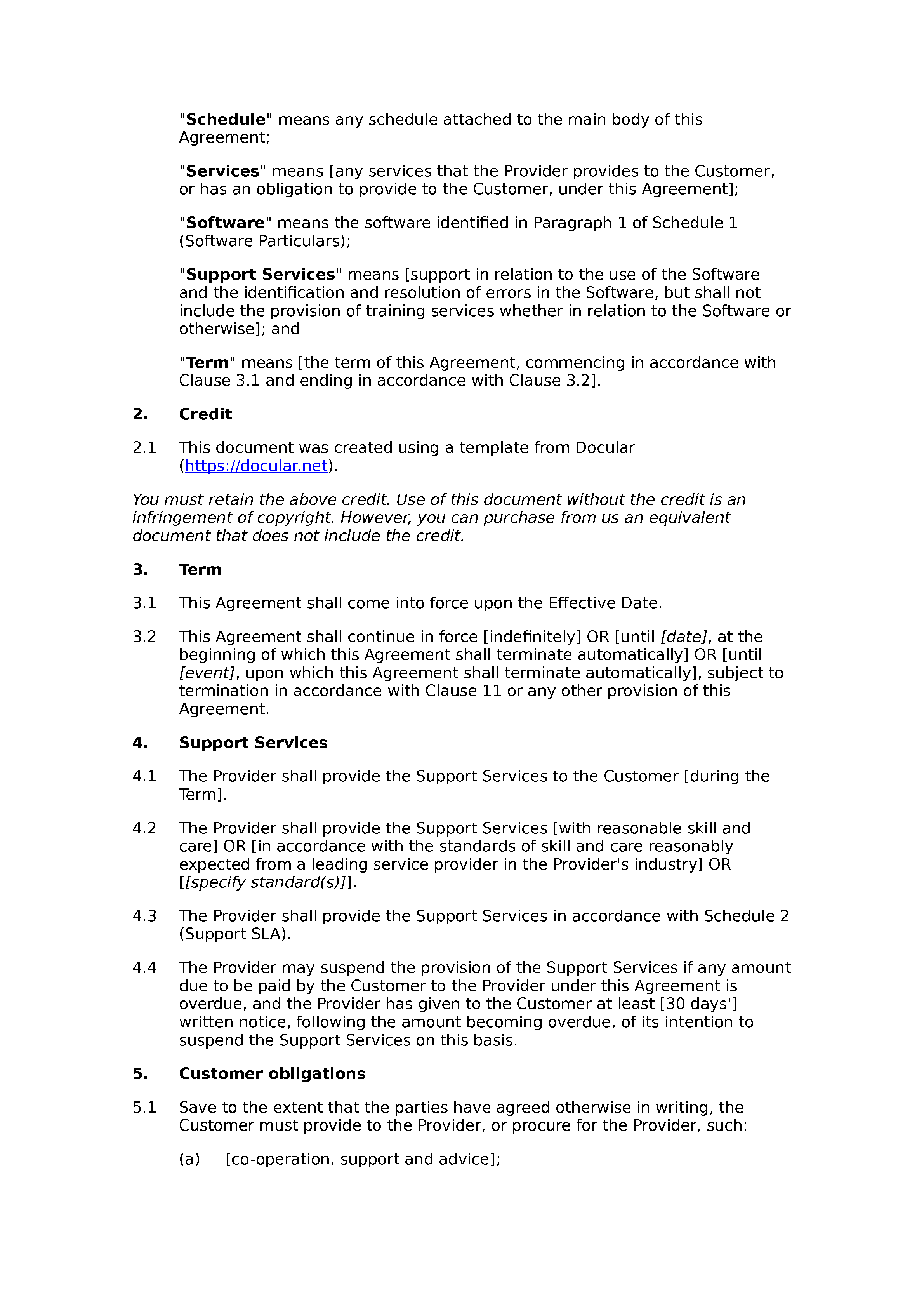 Free software support agreement document preview