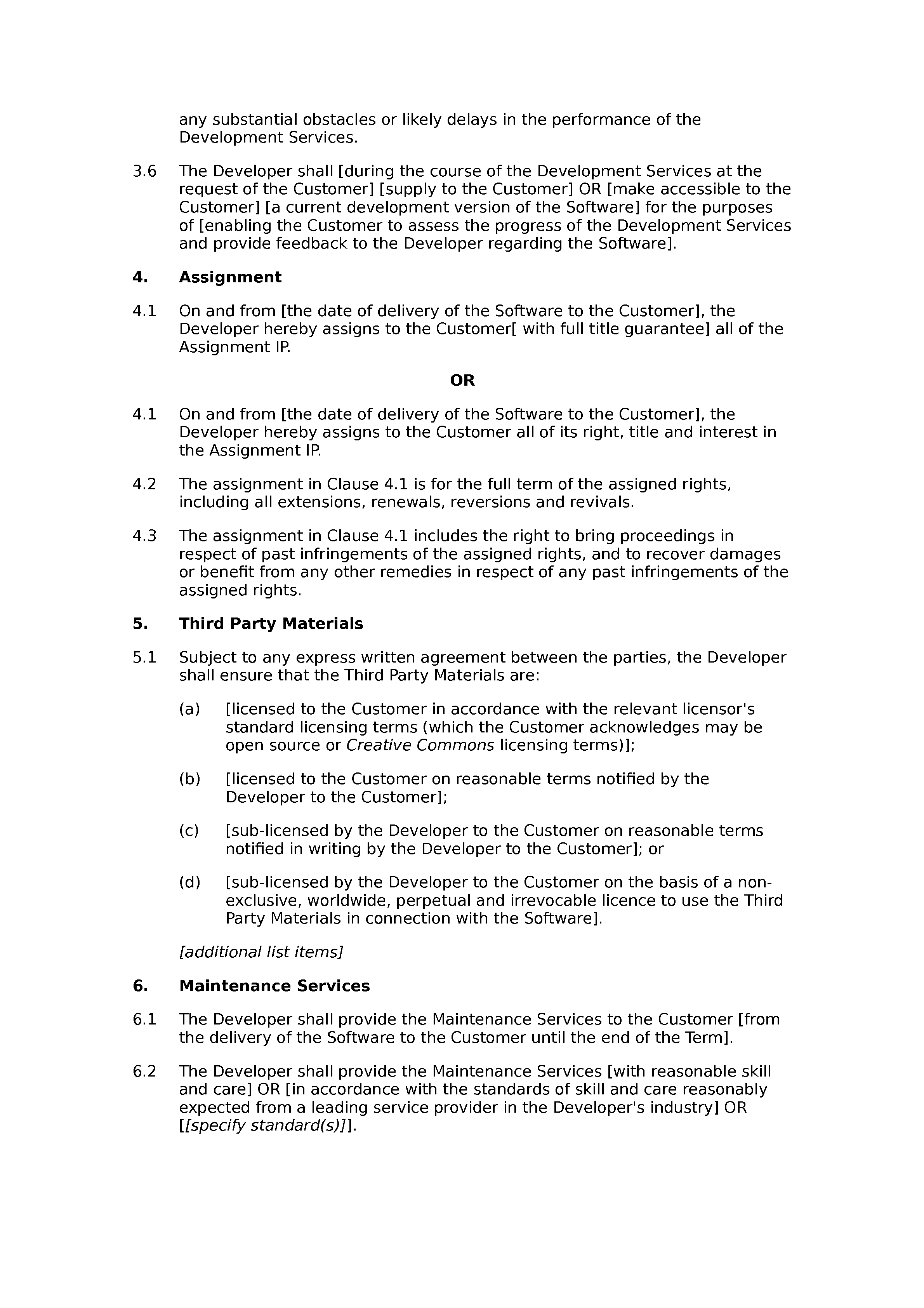 Software development, support and maintenance agreement (basic) document preview