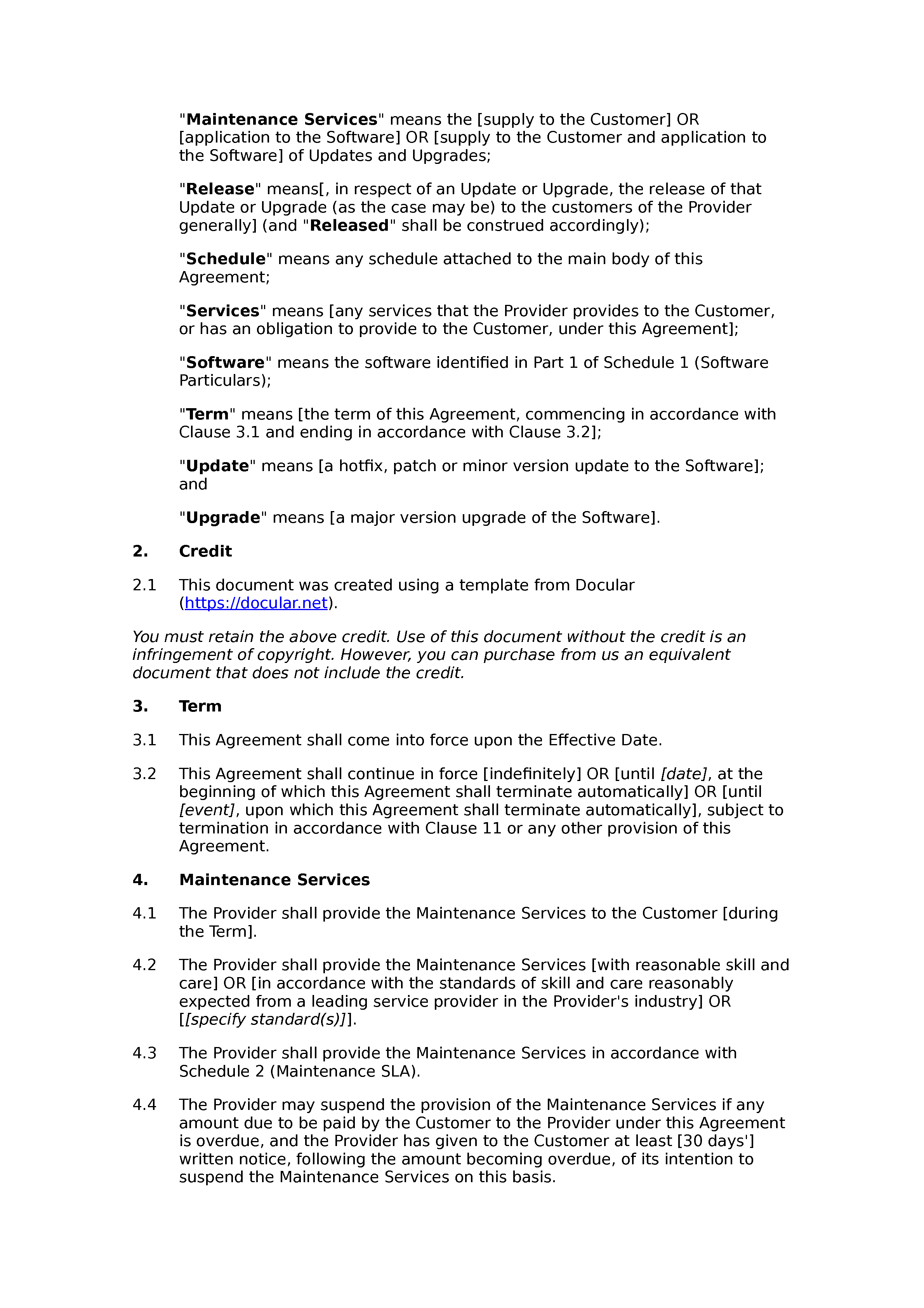 Free software maintenance agreement document preview