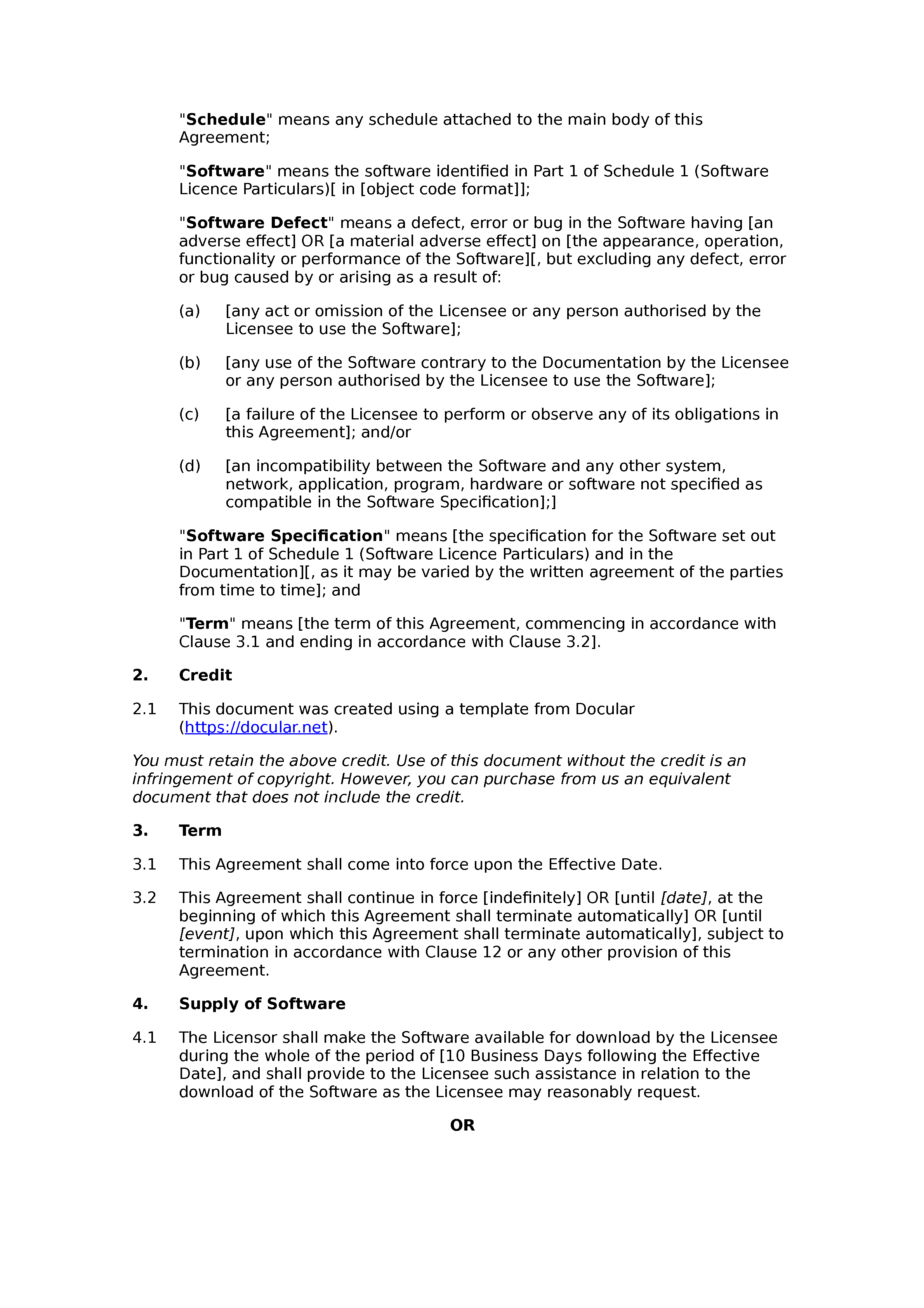 Free software licence agreement document preview