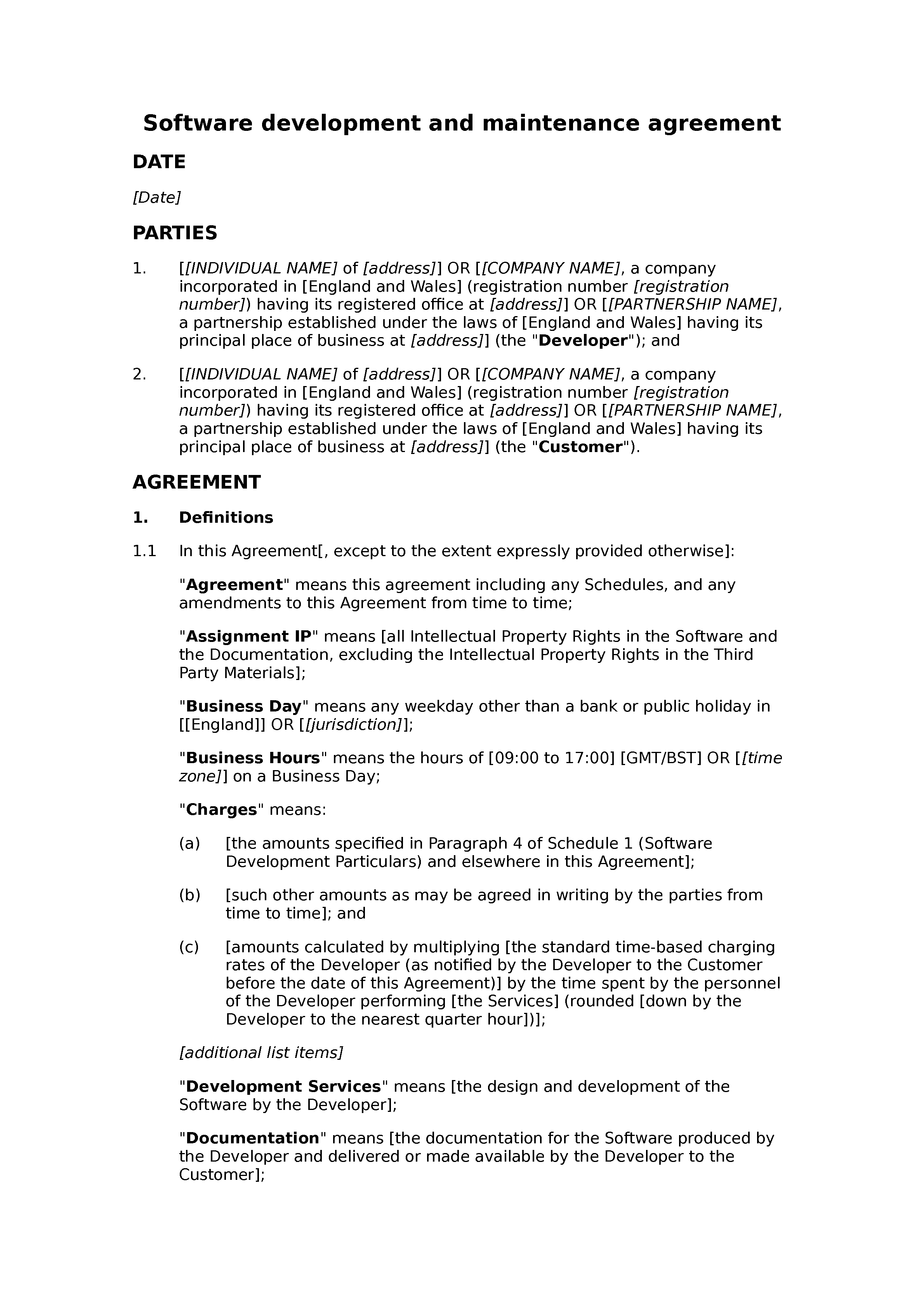 Software development and maintenance agreement (basic) document preview