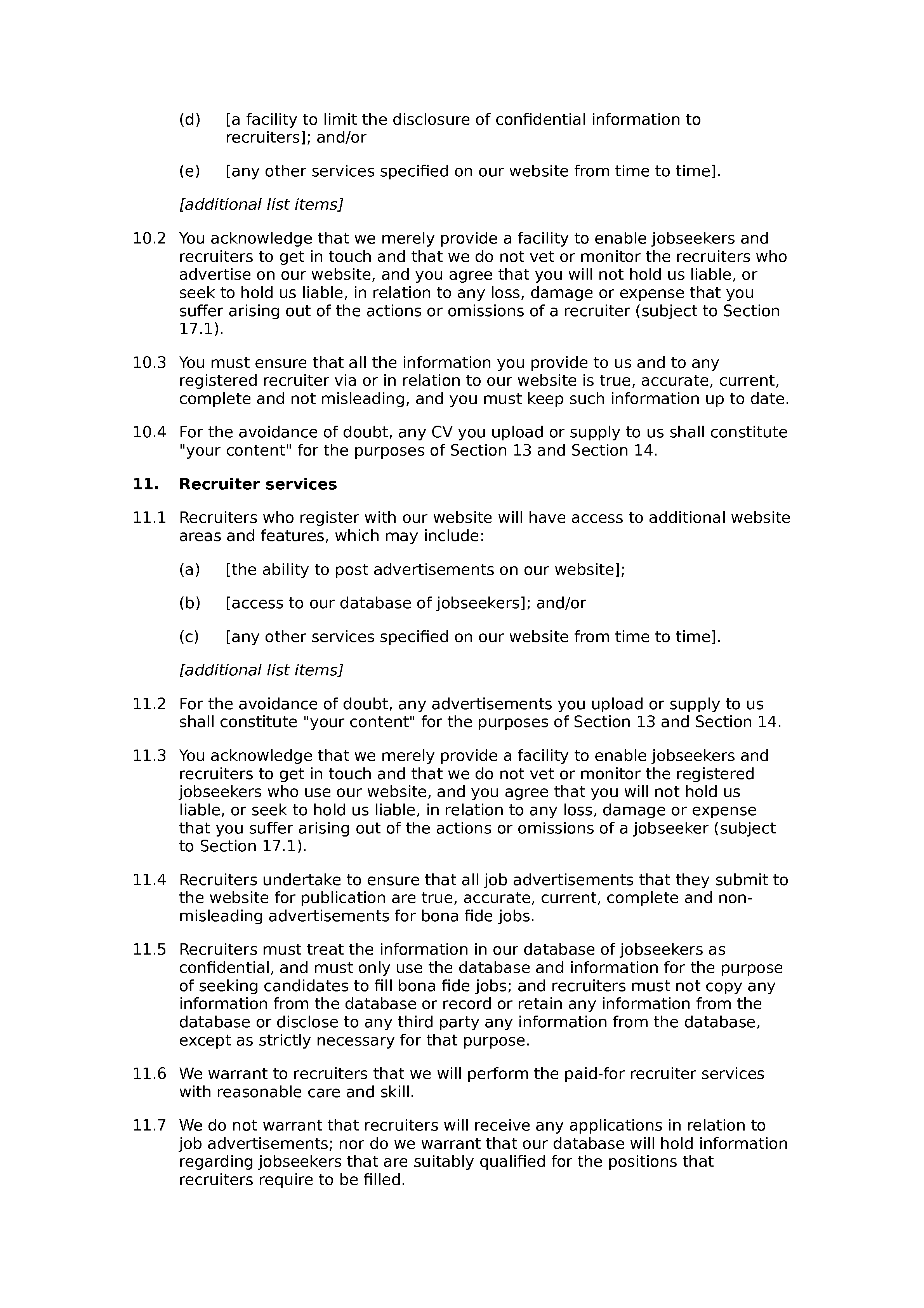 Recruitment website terms and conditions document preview