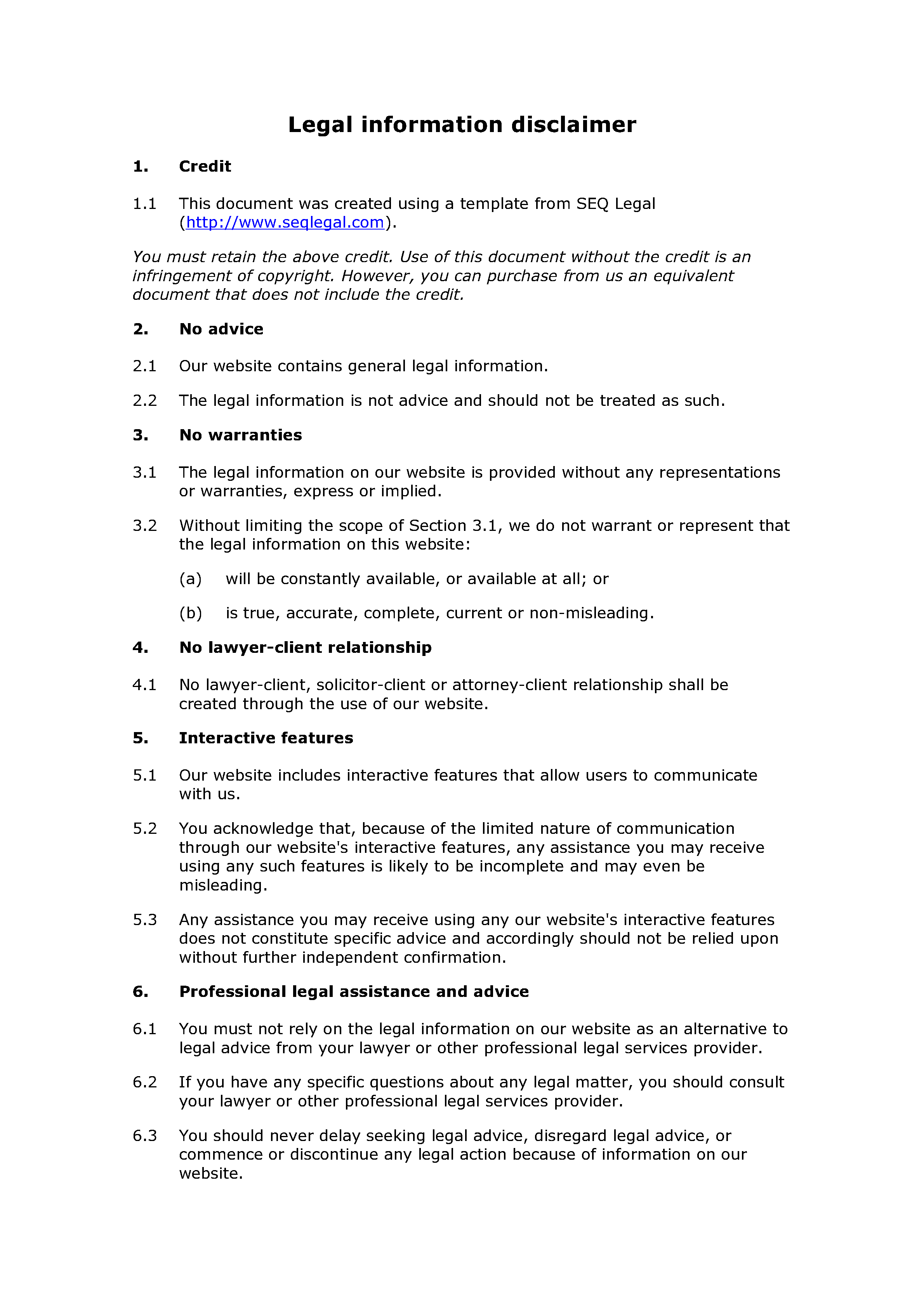 Free legal information disclaimer document preview