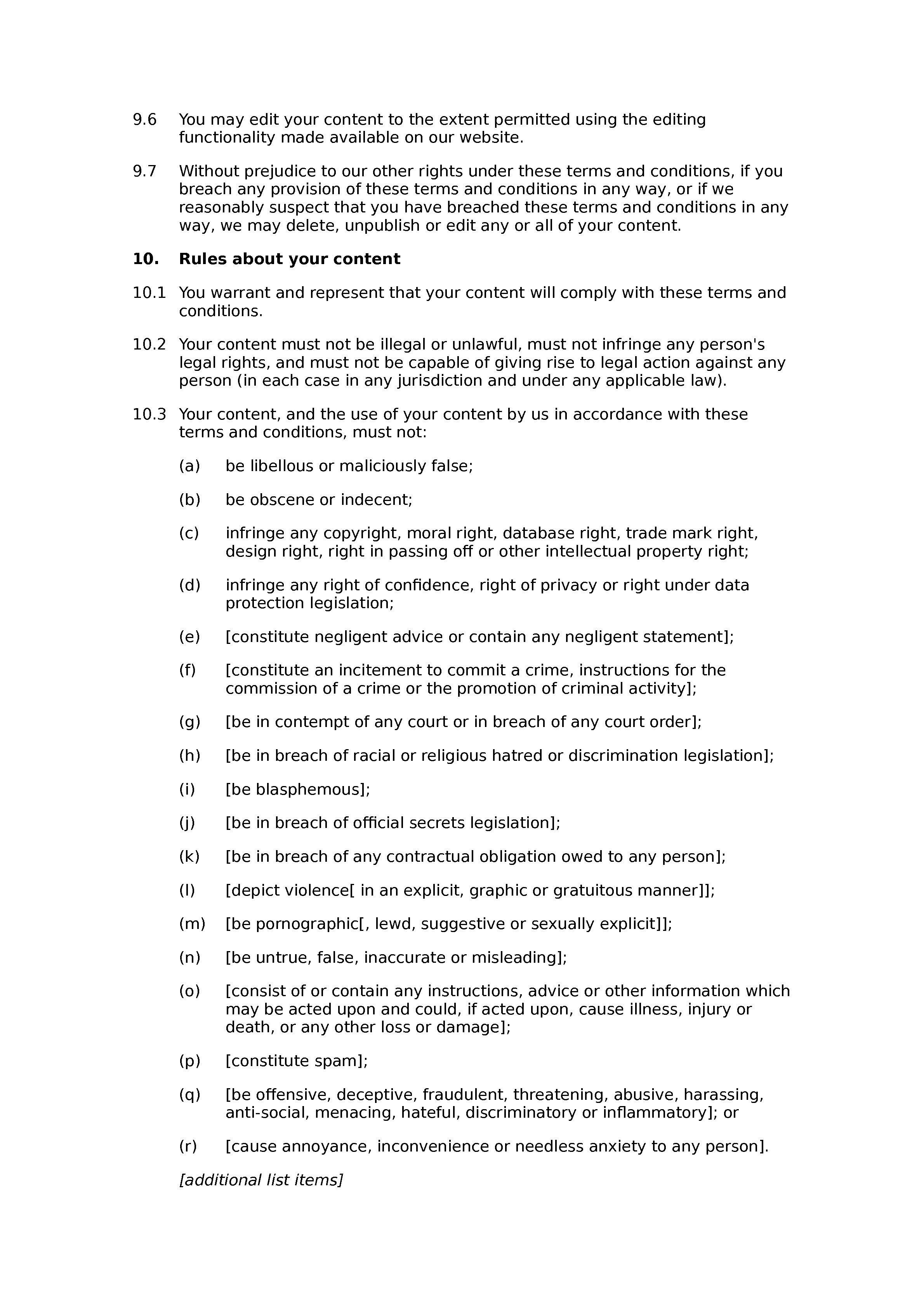Q&A website terms and conditions document preview