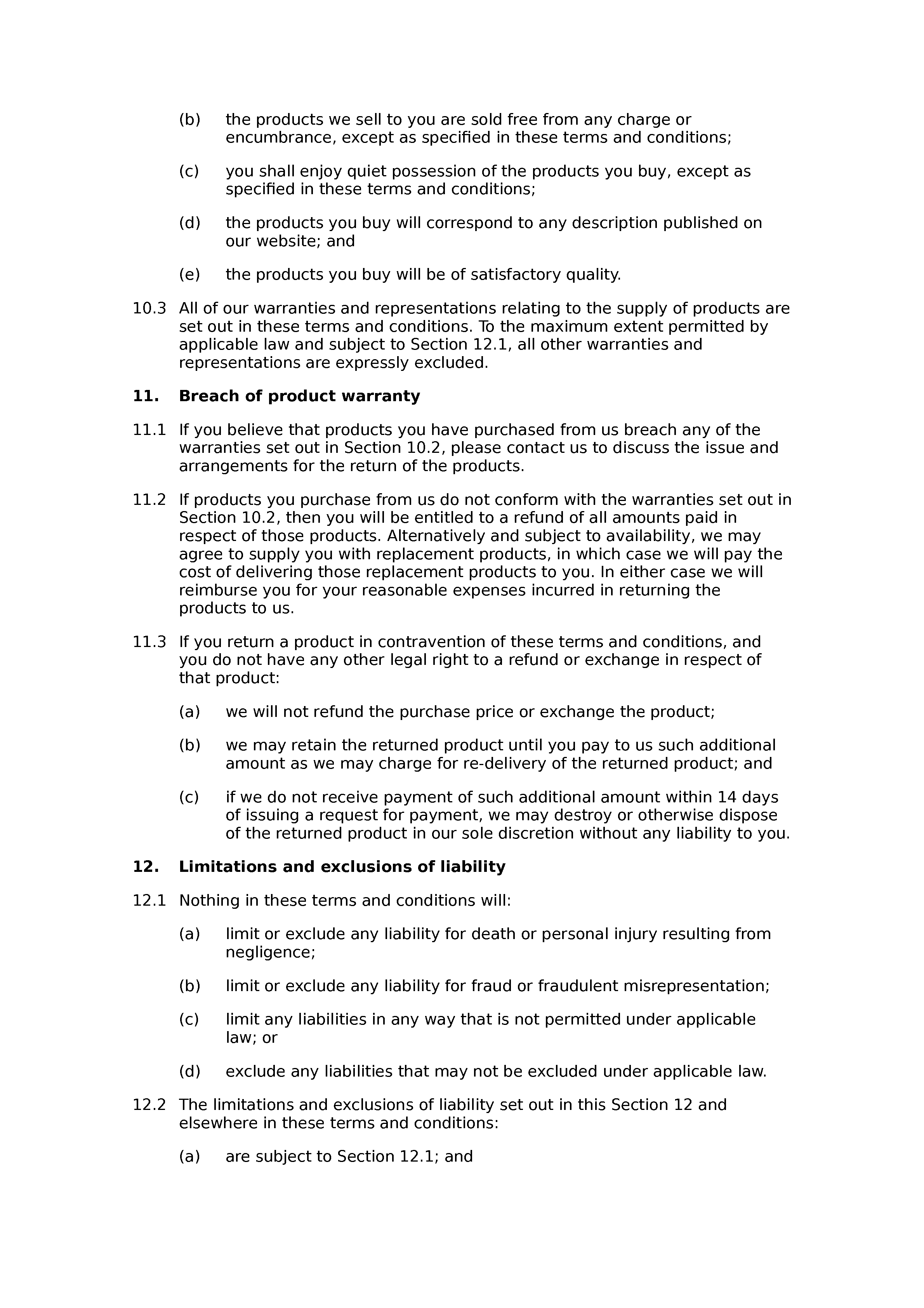 Terms and conditions of sale via website (B2B) document preview