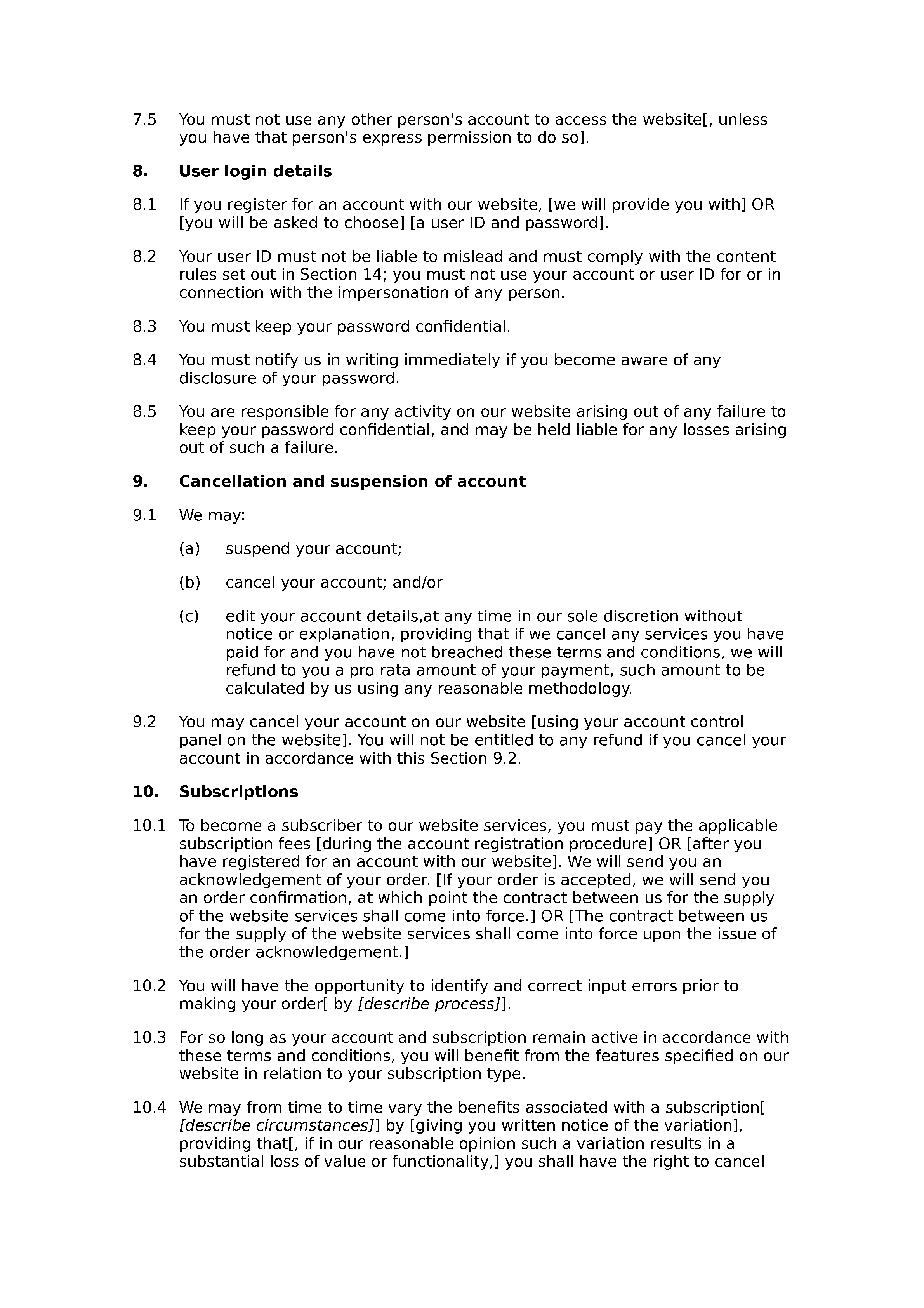 Financial subscription website terms and conditions document preview