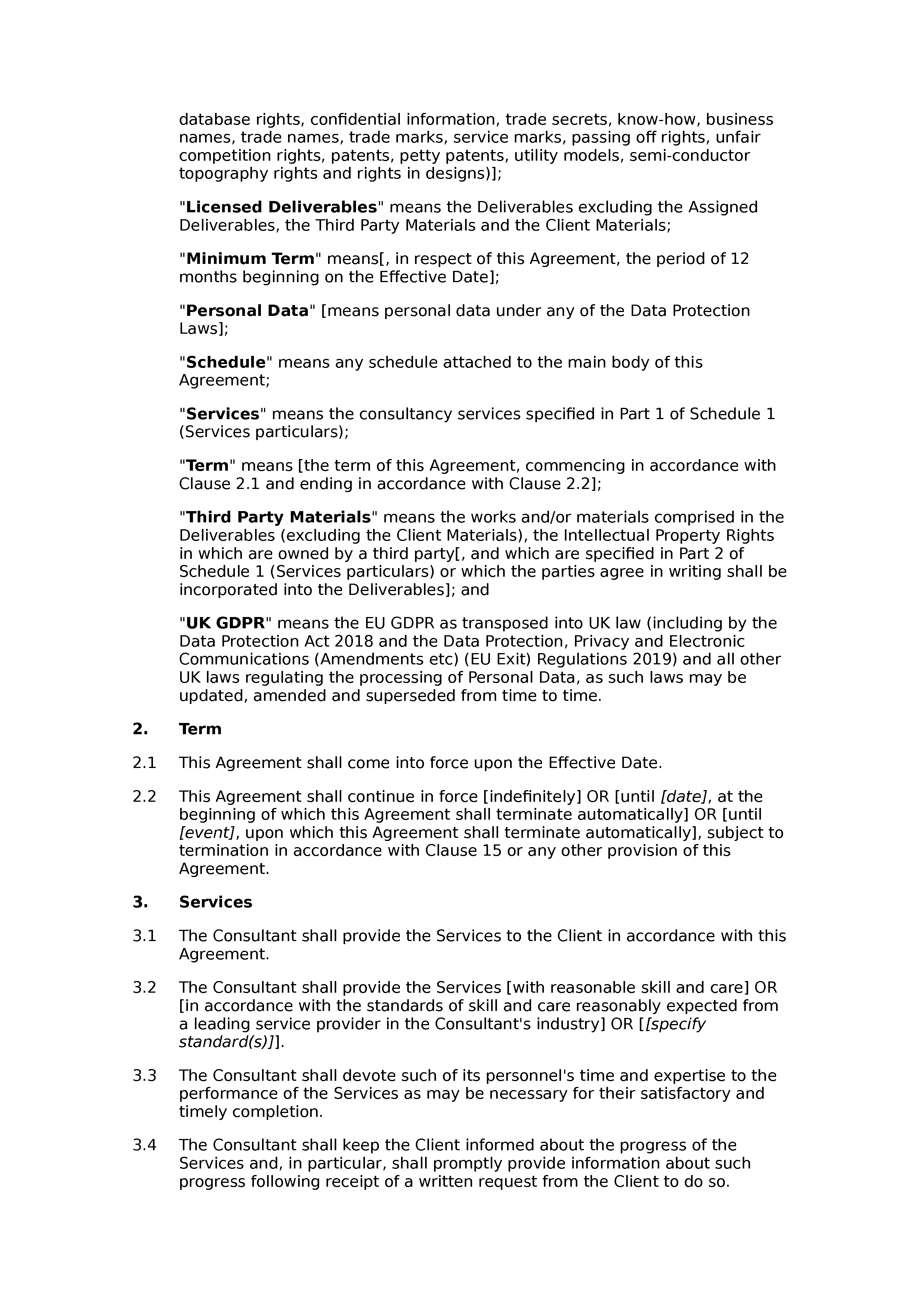 Consultancy agreement (standard) document preview