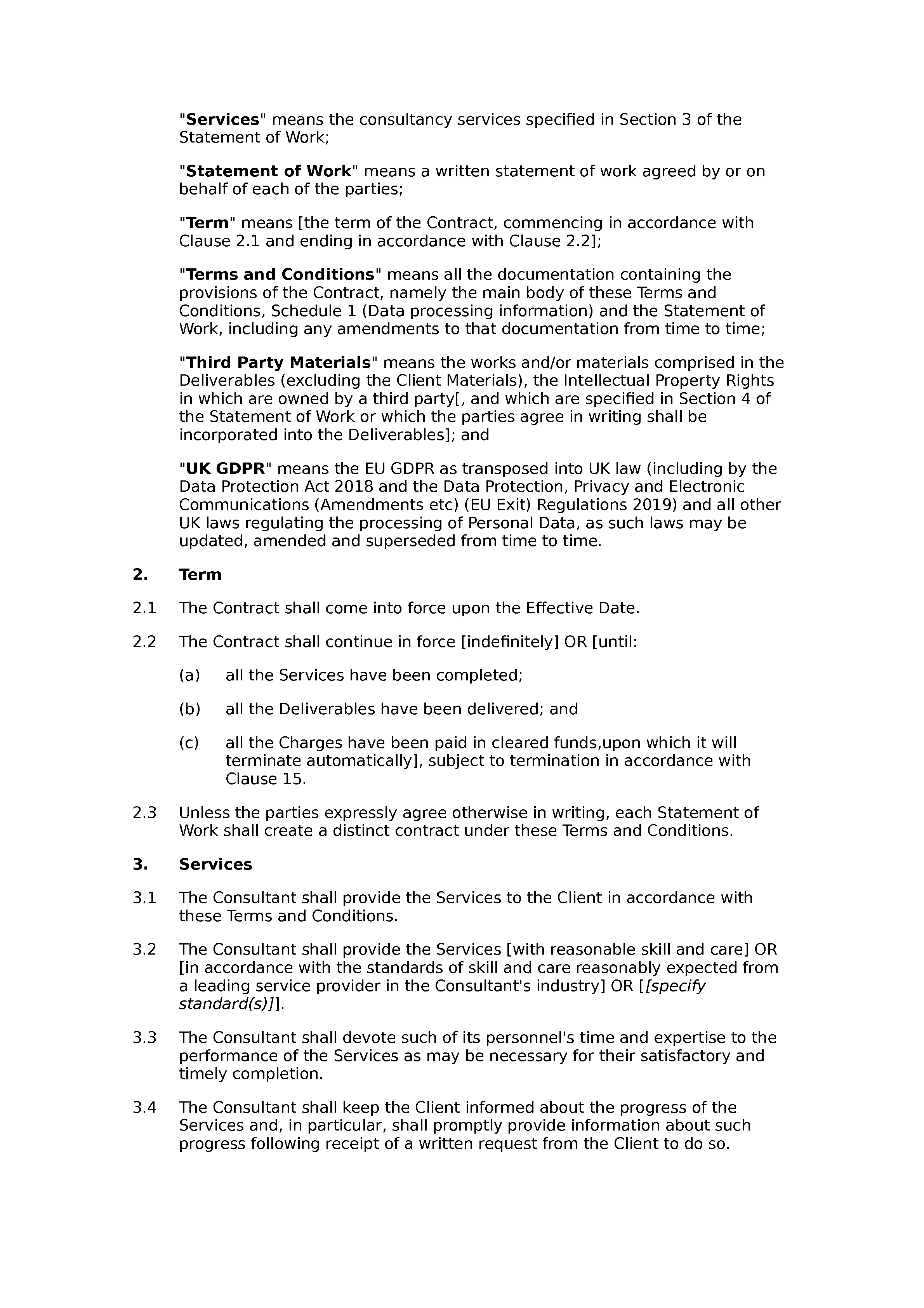 Consultancy terms and conditions (standard) document preview