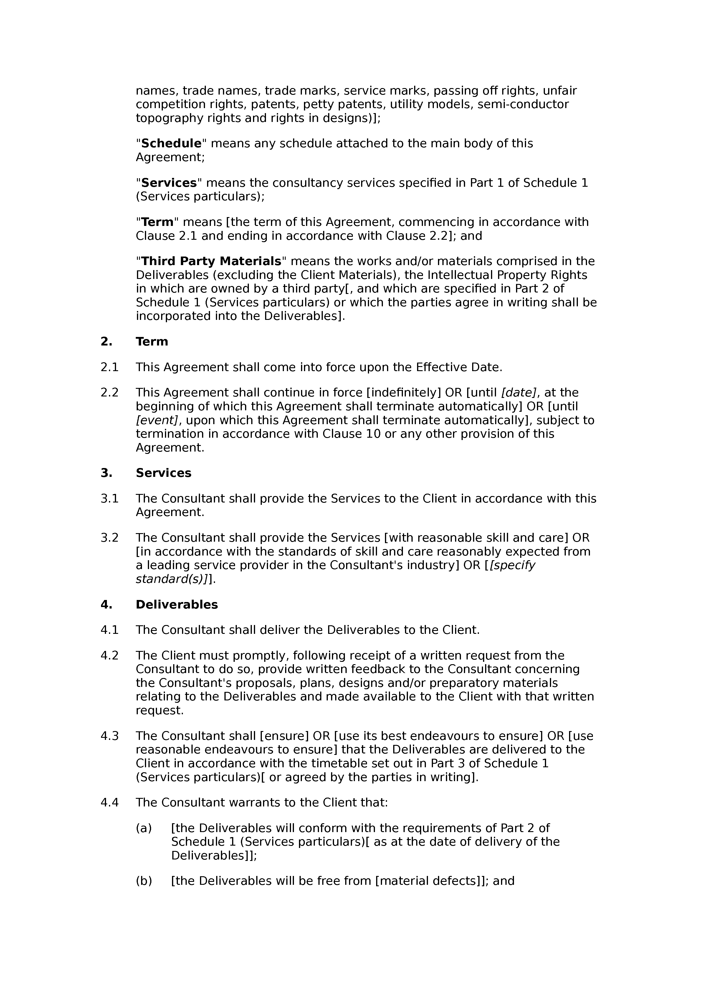 Consultancy agreement (basic) document preview