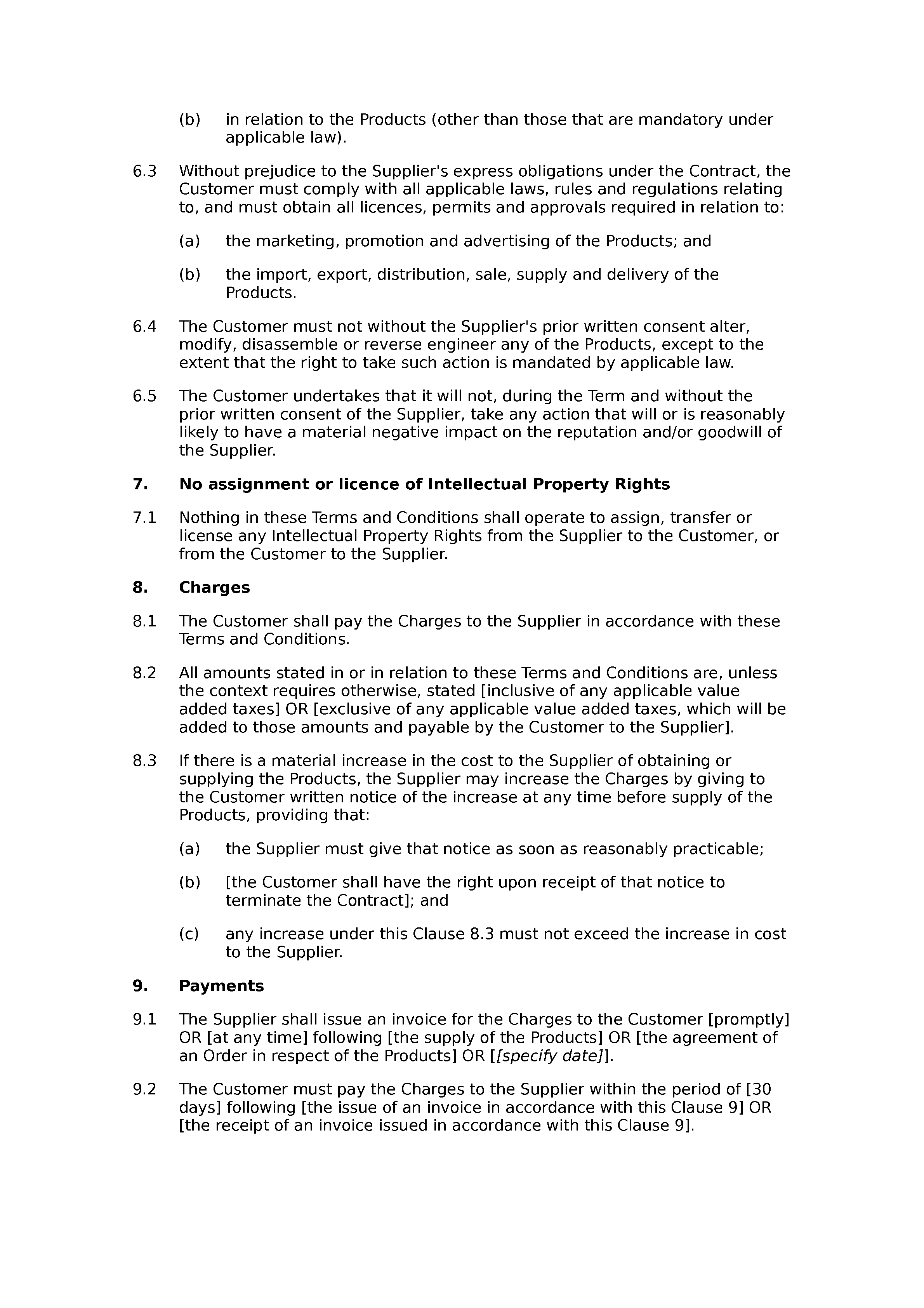 Terms and conditions of supply (premium) document preview