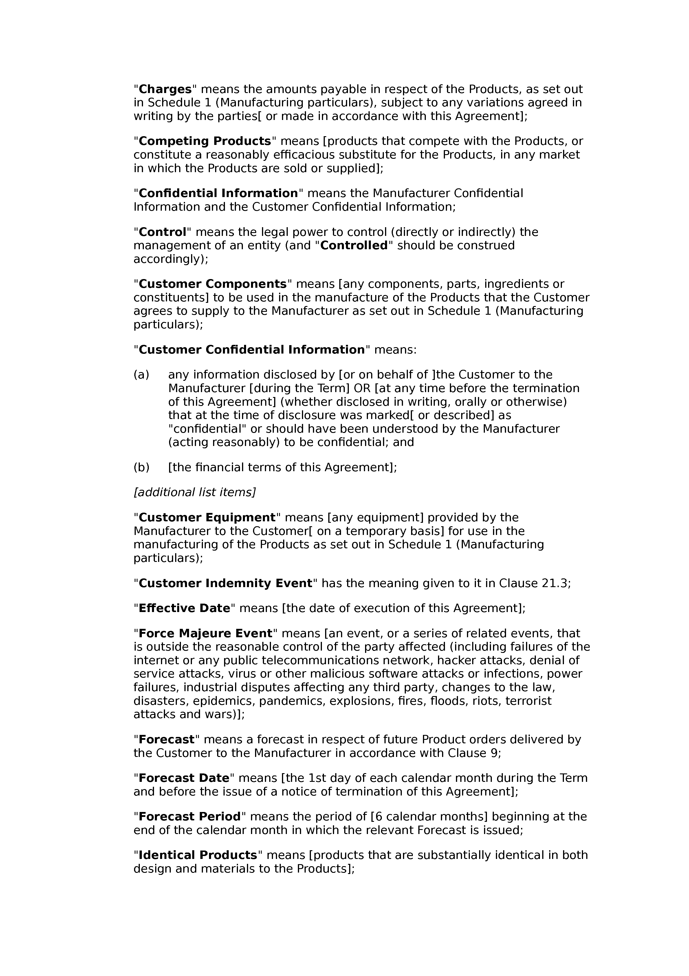 Manufacturing agreement (premium) document preview