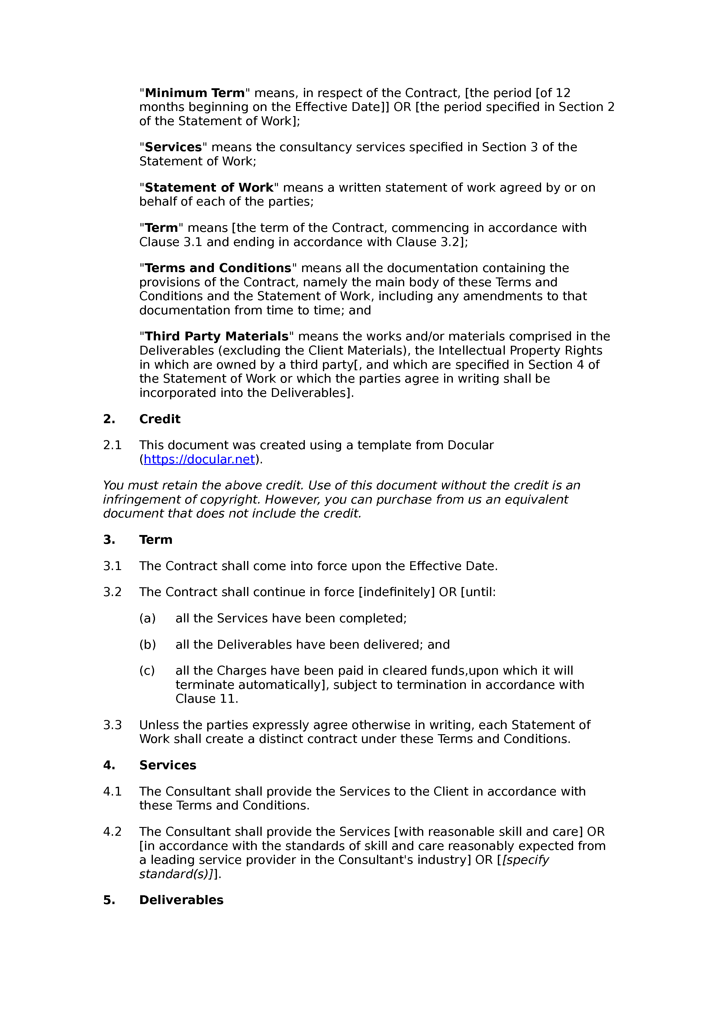 Free consultancy terms and conditions document preview