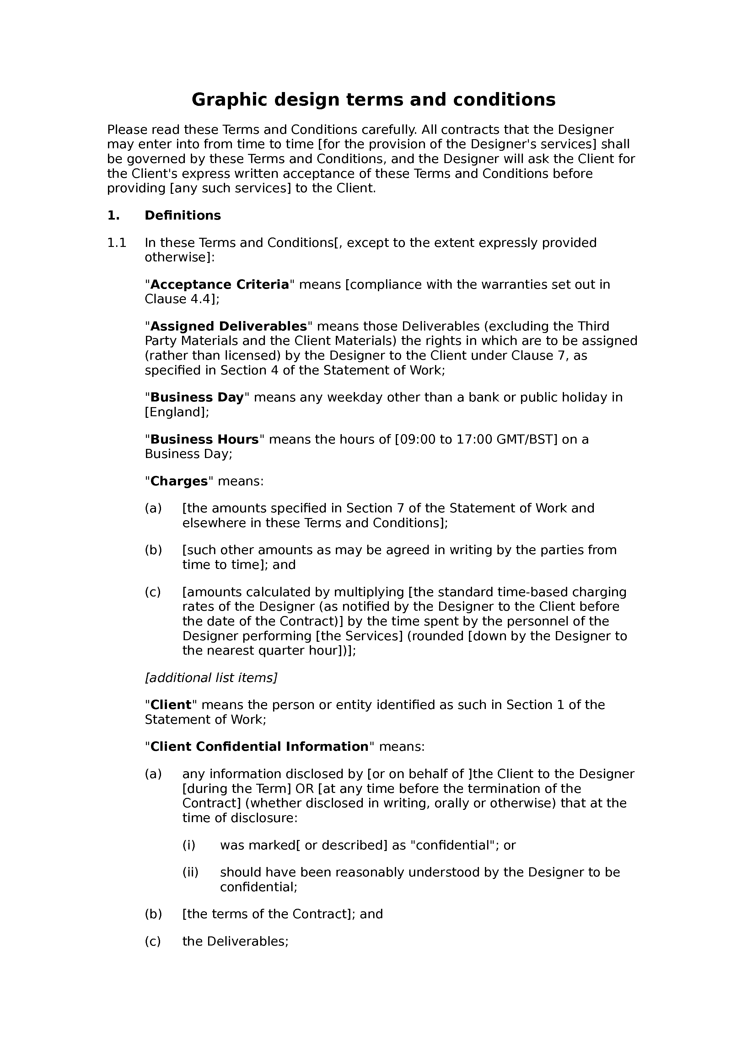 Graphic design terms and conditions document preview
