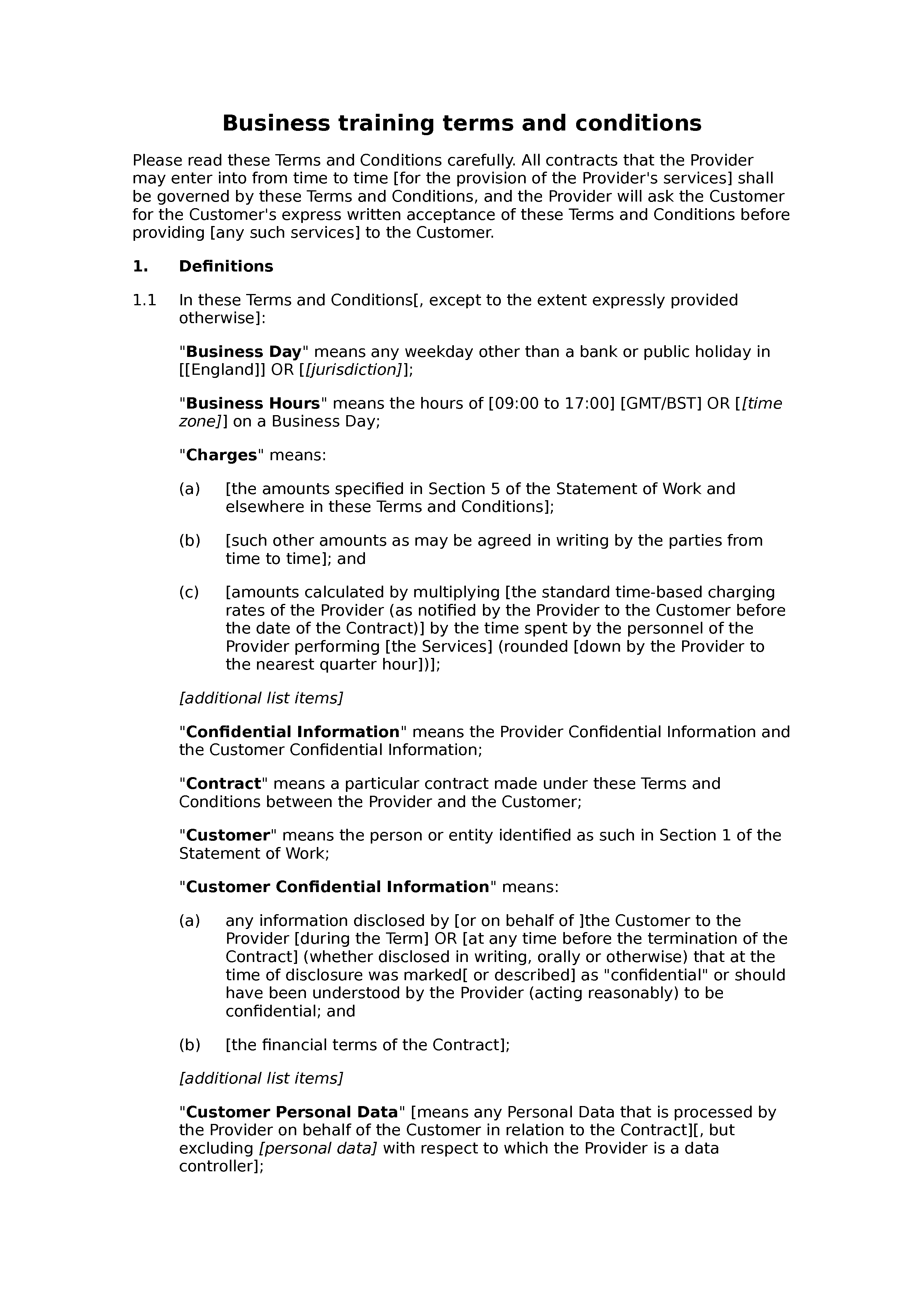 Business training terms and conditions document preview