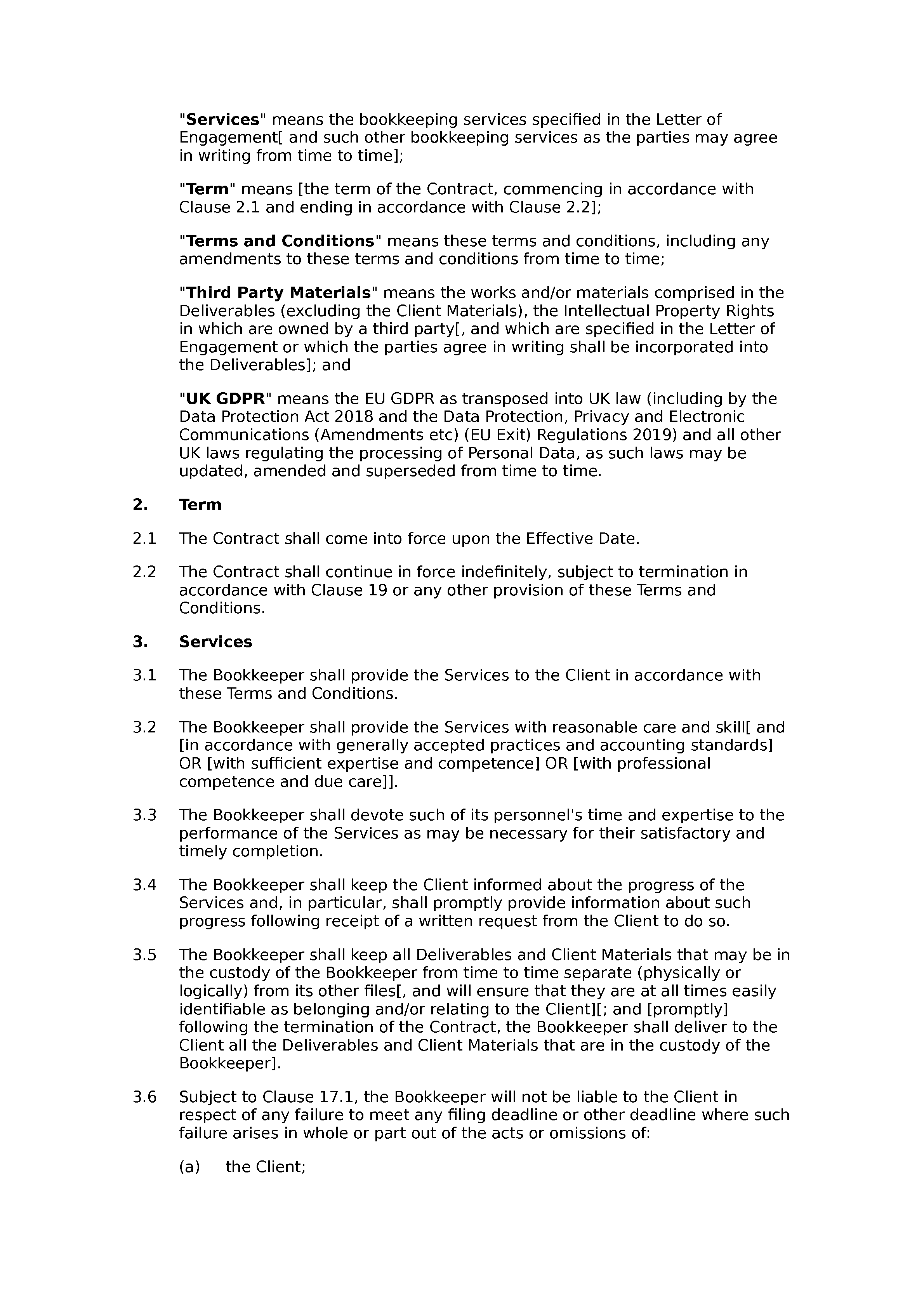 Bookkeeping terms and conditions document preview