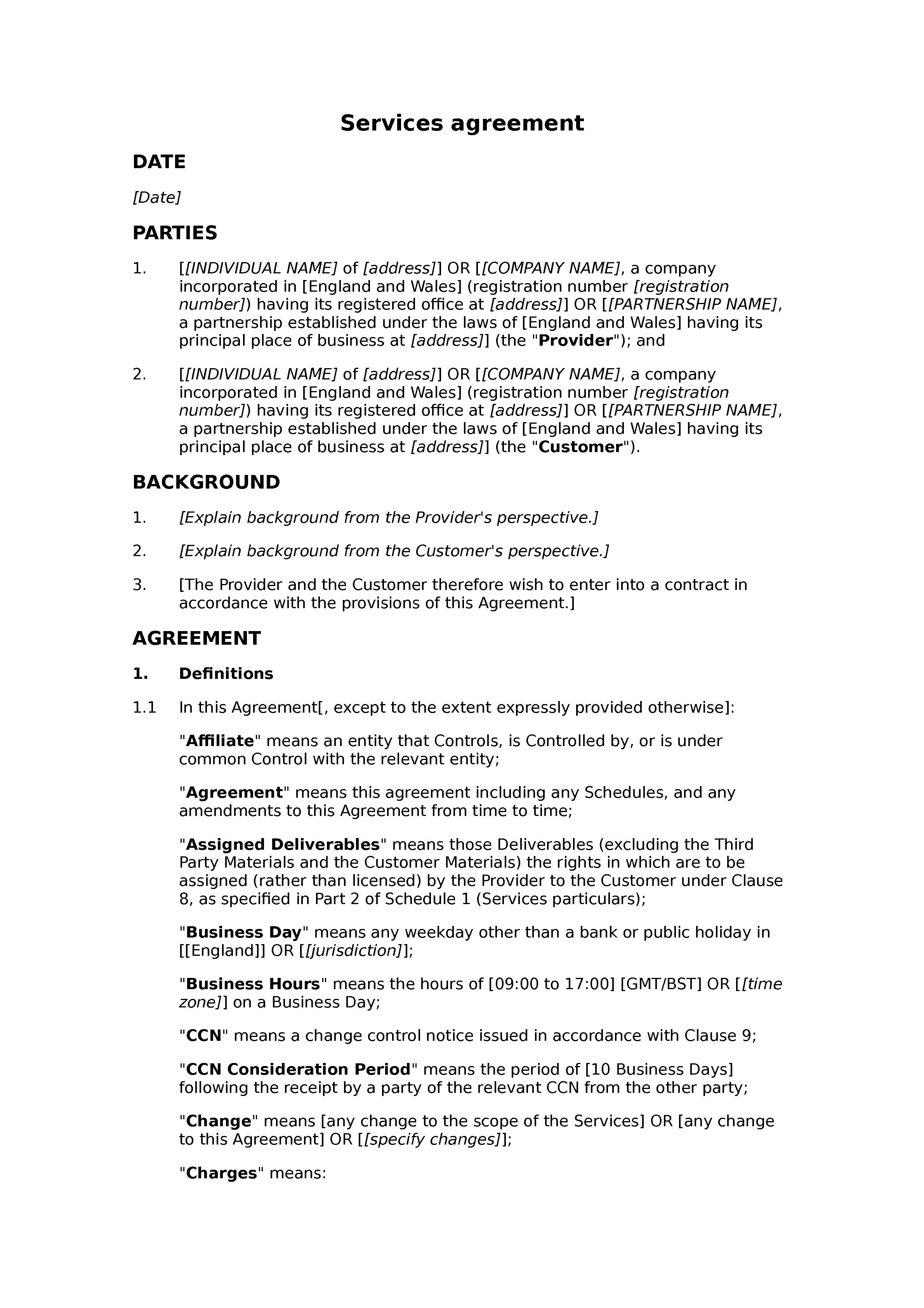 Services agreement (premium) document preview