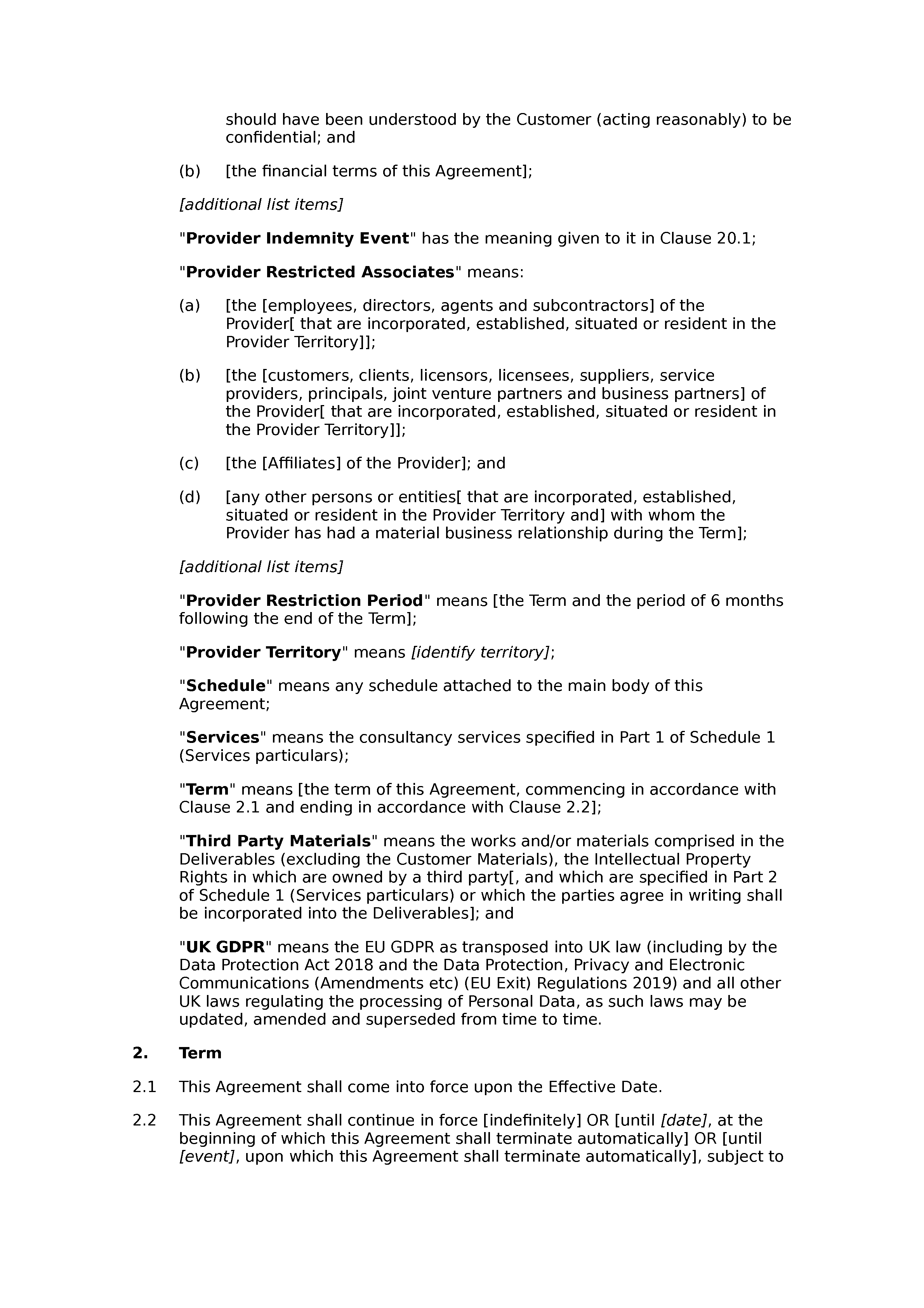 Services agreement (premium) document preview