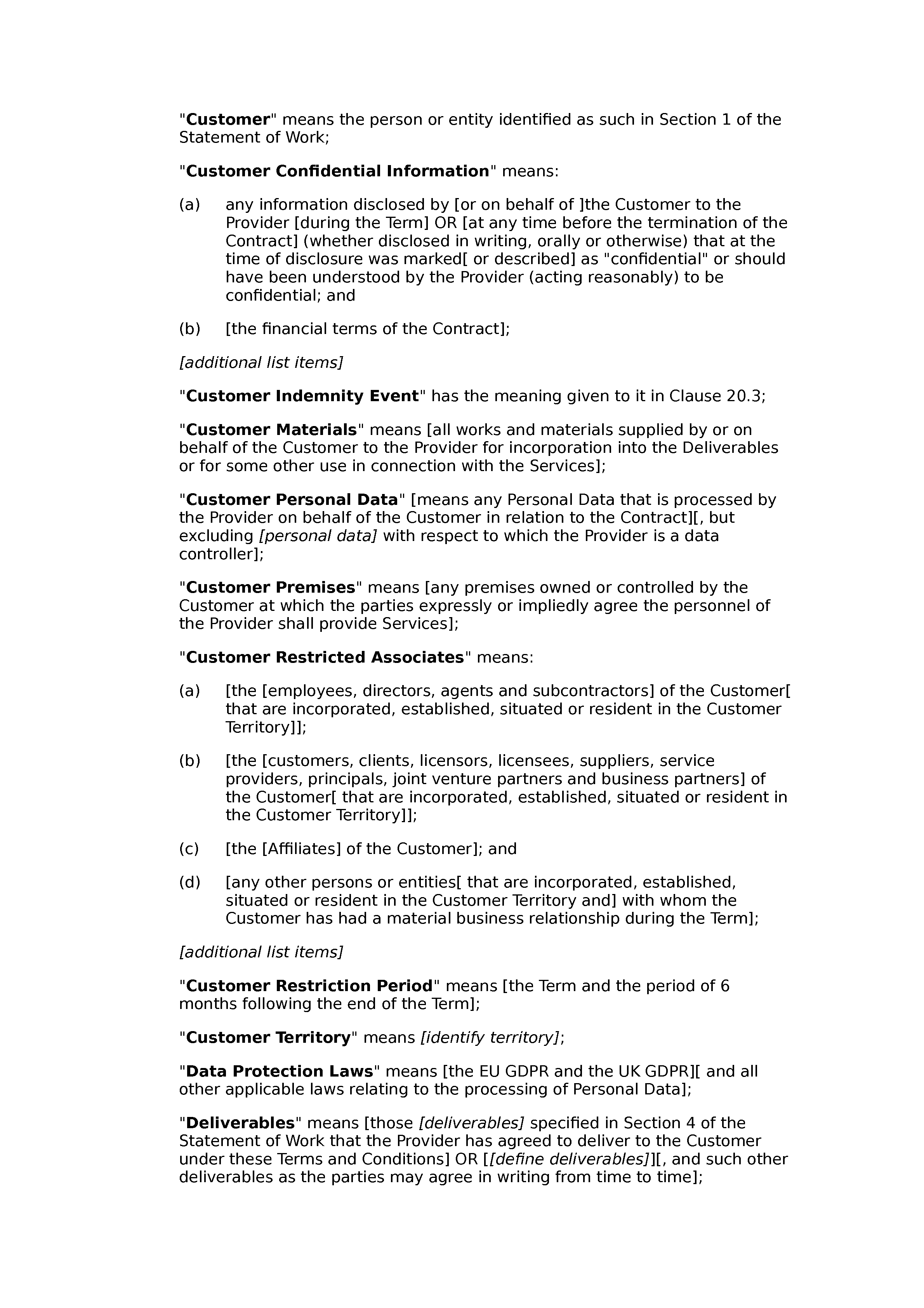 Terms and conditions for the supply of services (premium) document preview