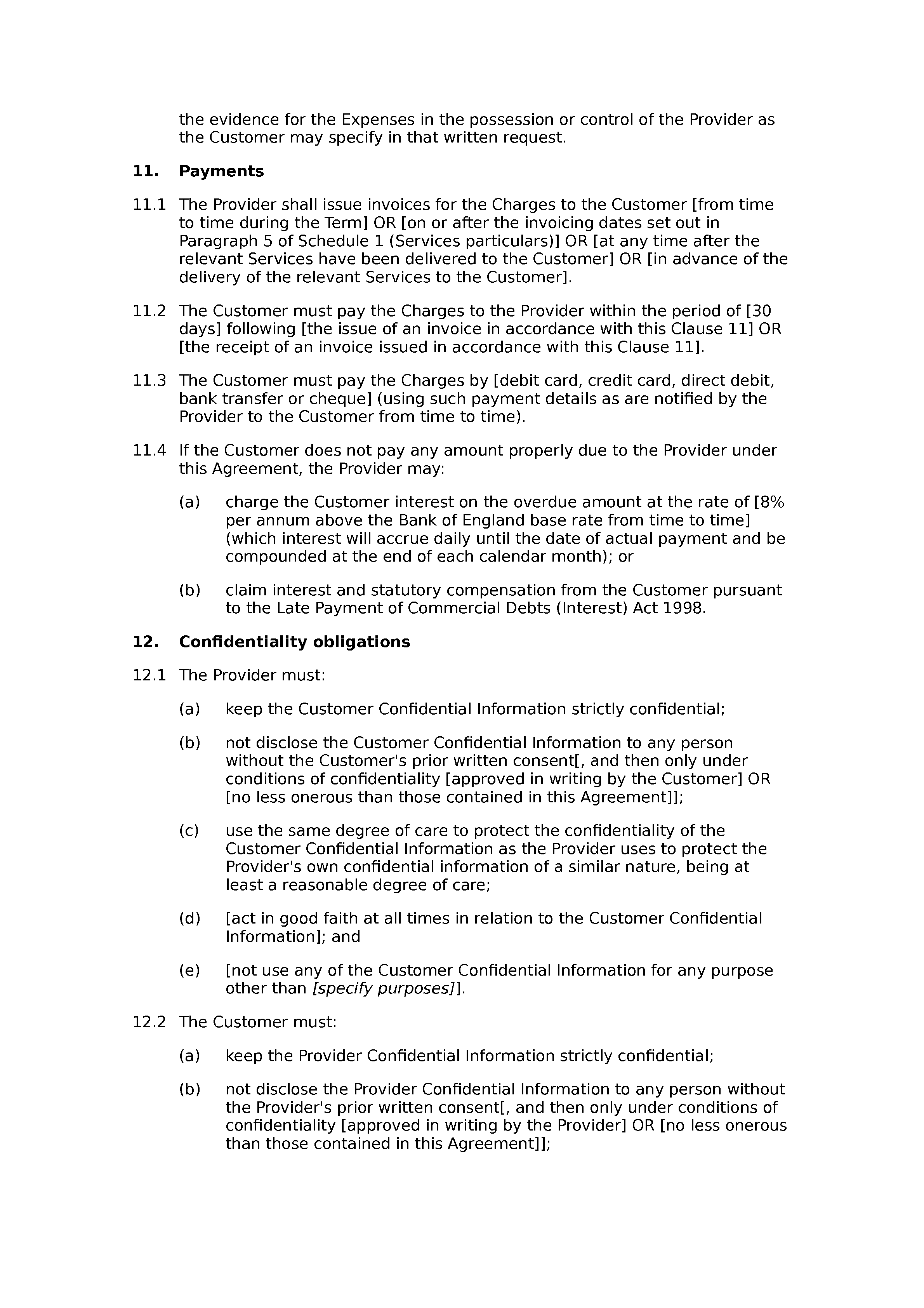 Services agreement (standard) document preview