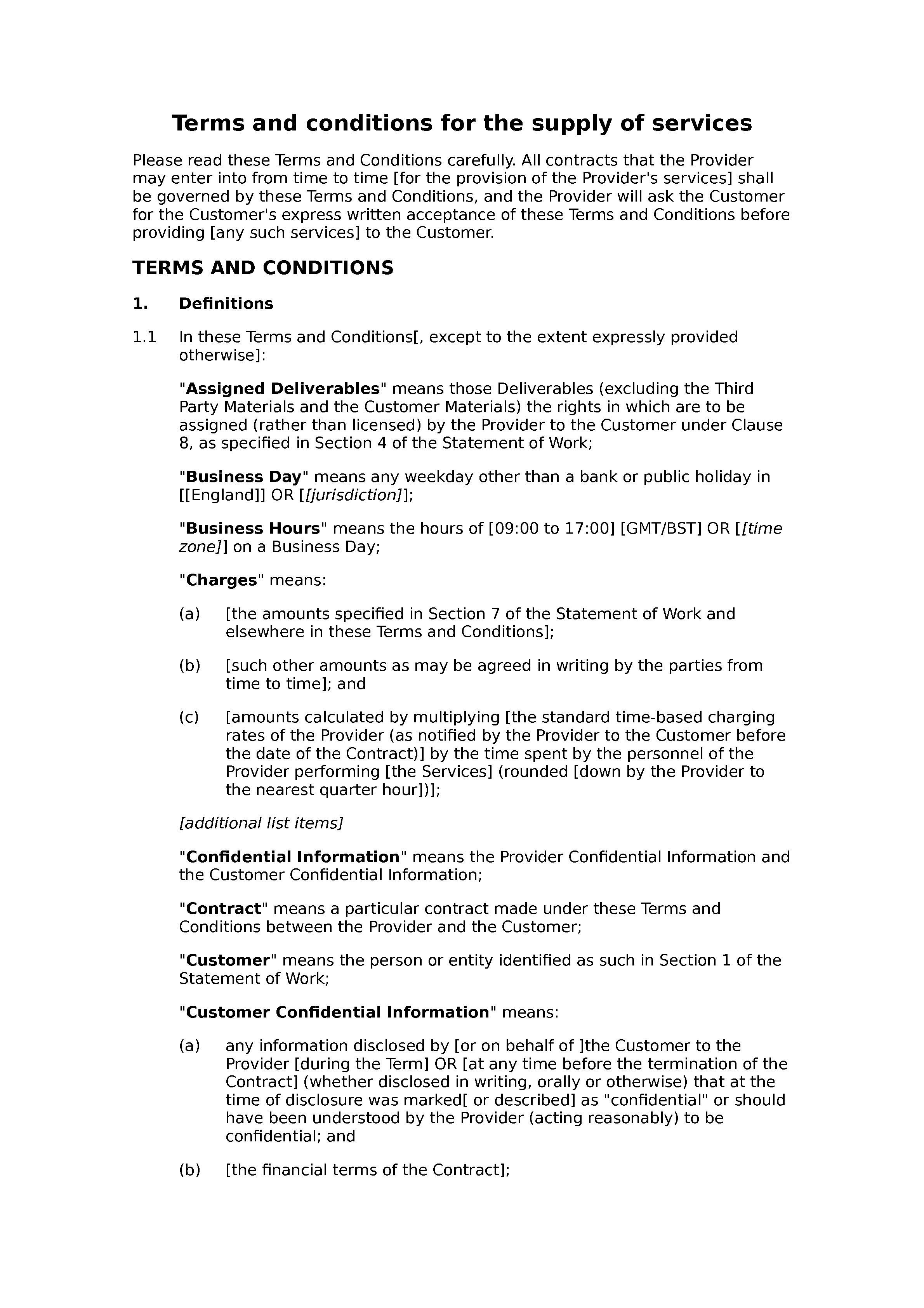 Terms and conditions for the supply of services (standard) document preview