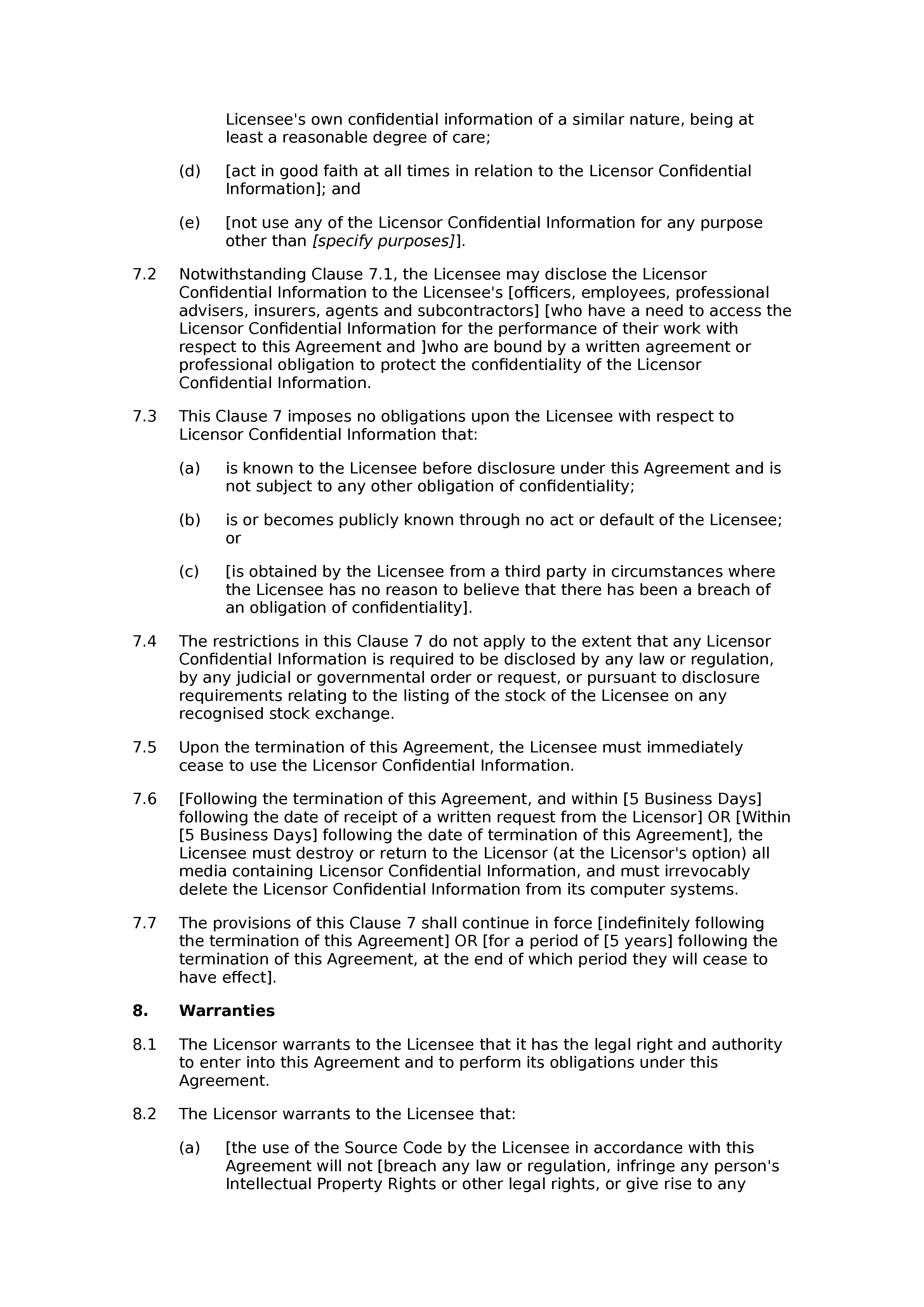 Source code licence agreement document preview