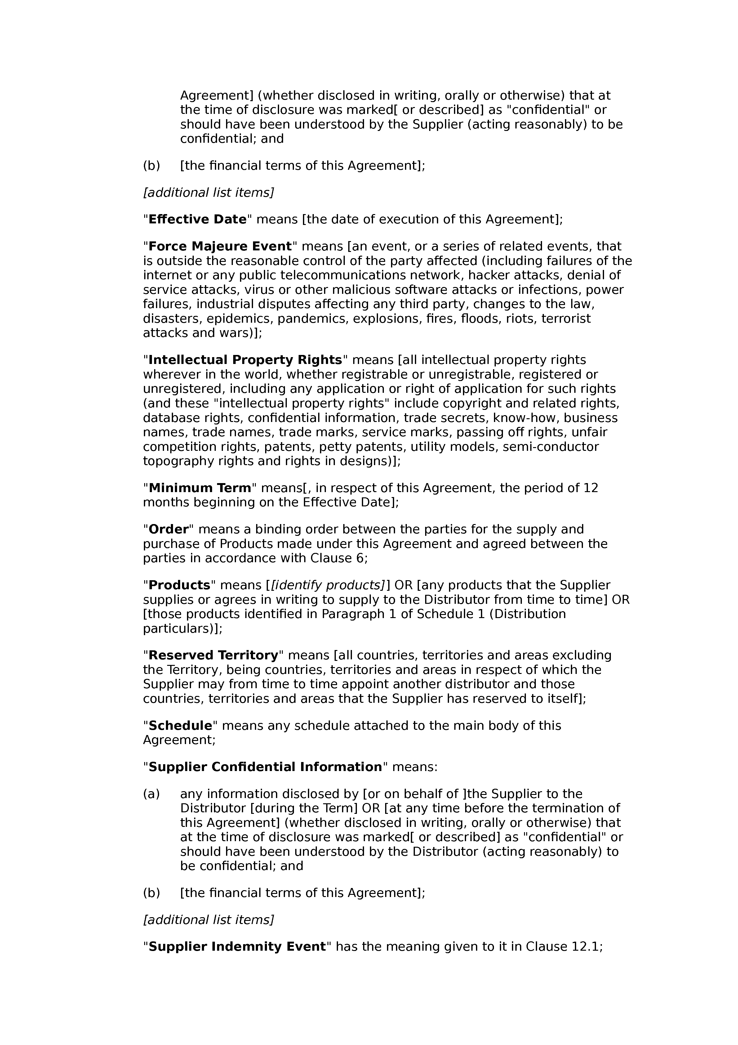 Non-exclusive distribution agreement (standard) document preview