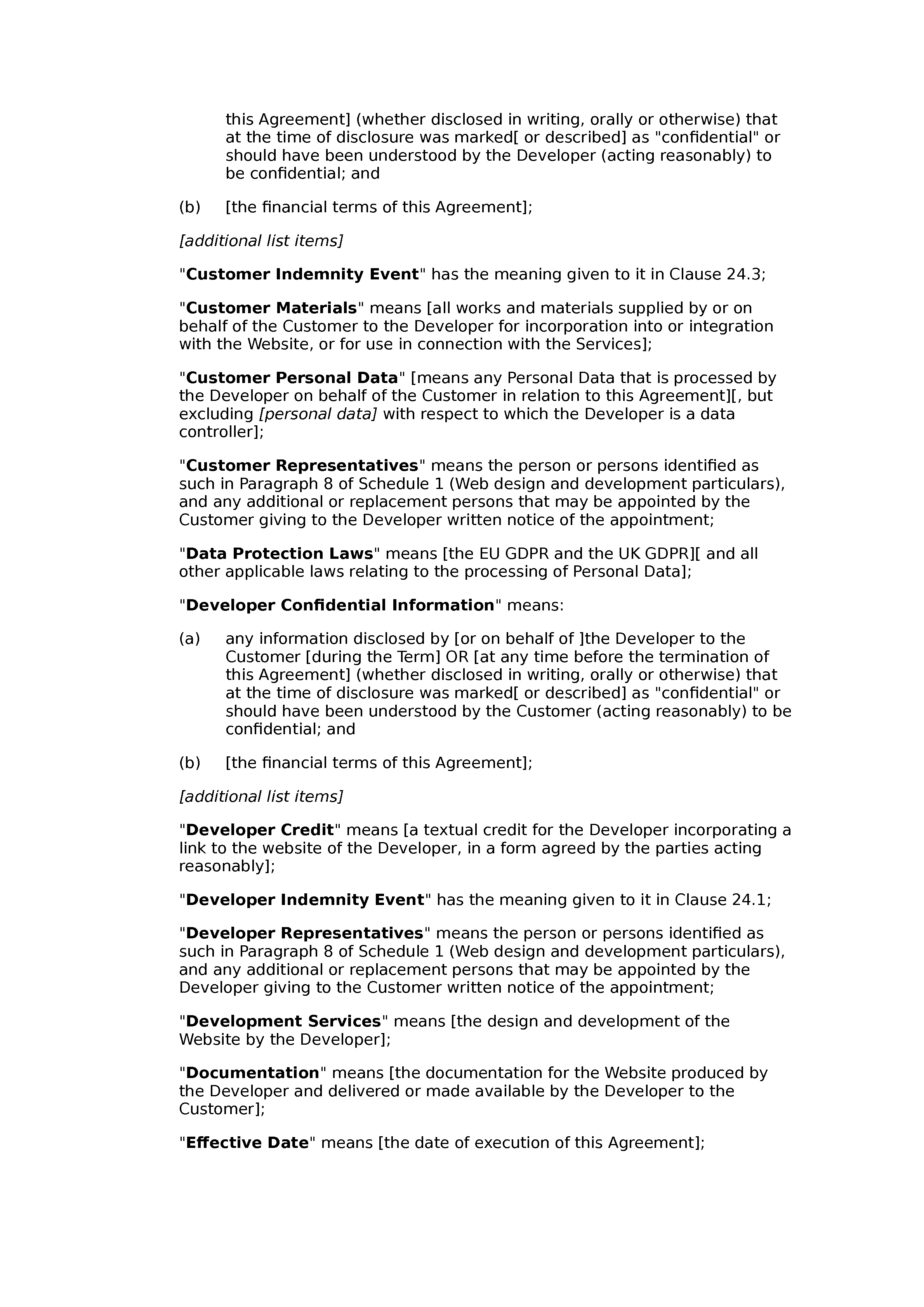 Web design and development agreement (premium) document preview