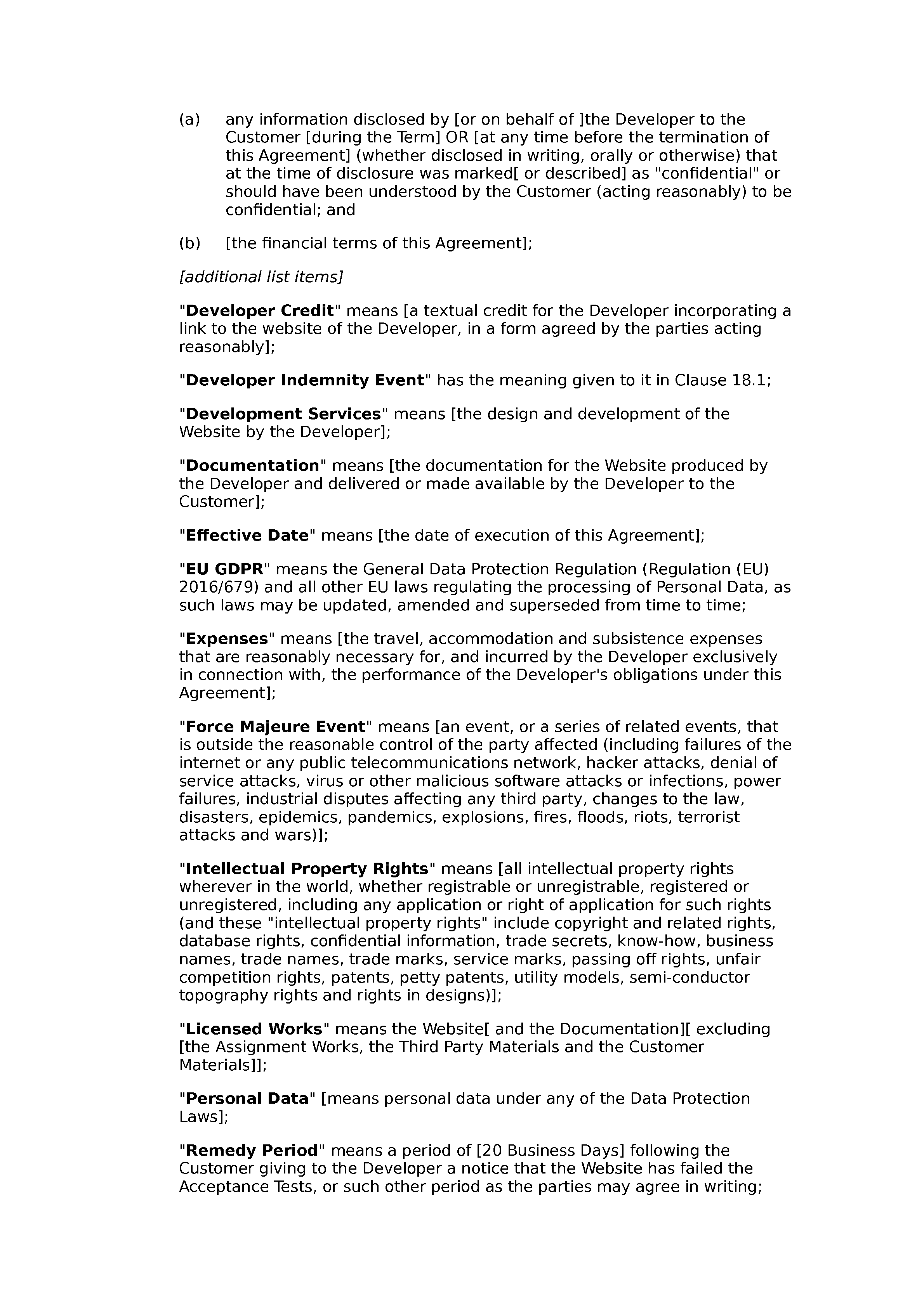 Web design and development agreement (standard) document preview