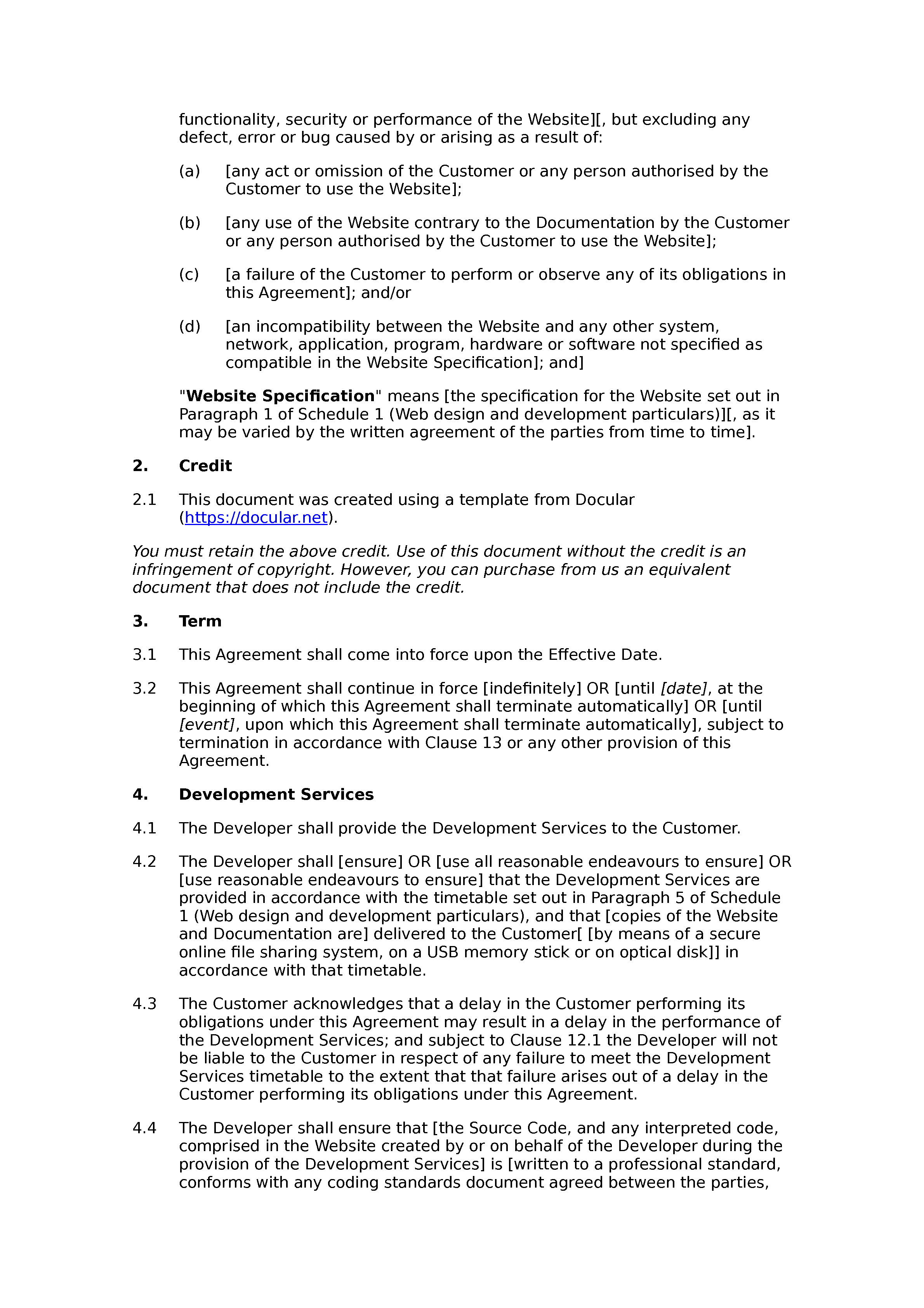 Free web design and development agreement Docular – Website Development Agreement