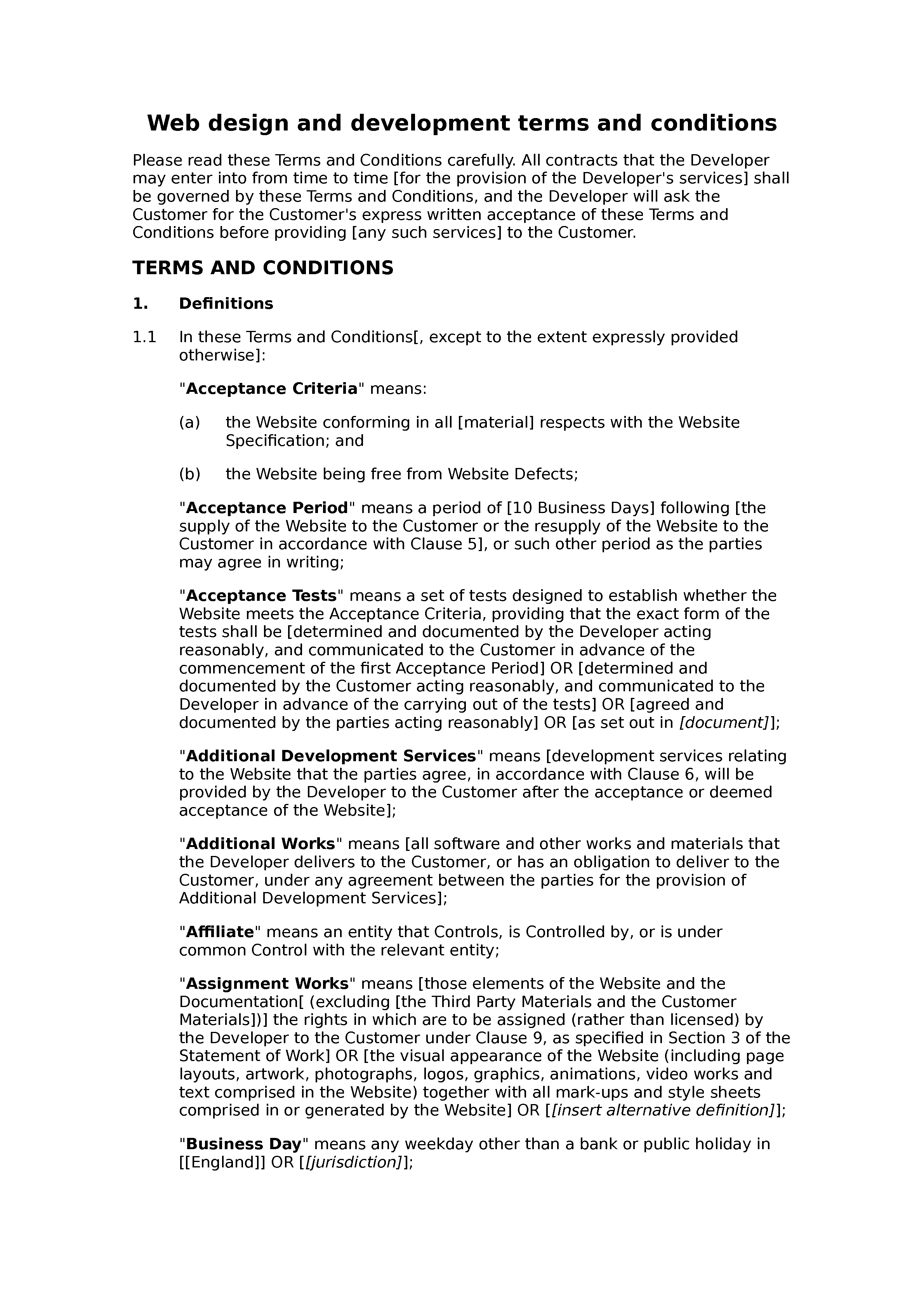 Web design and development terms and conditions (premium) document preview