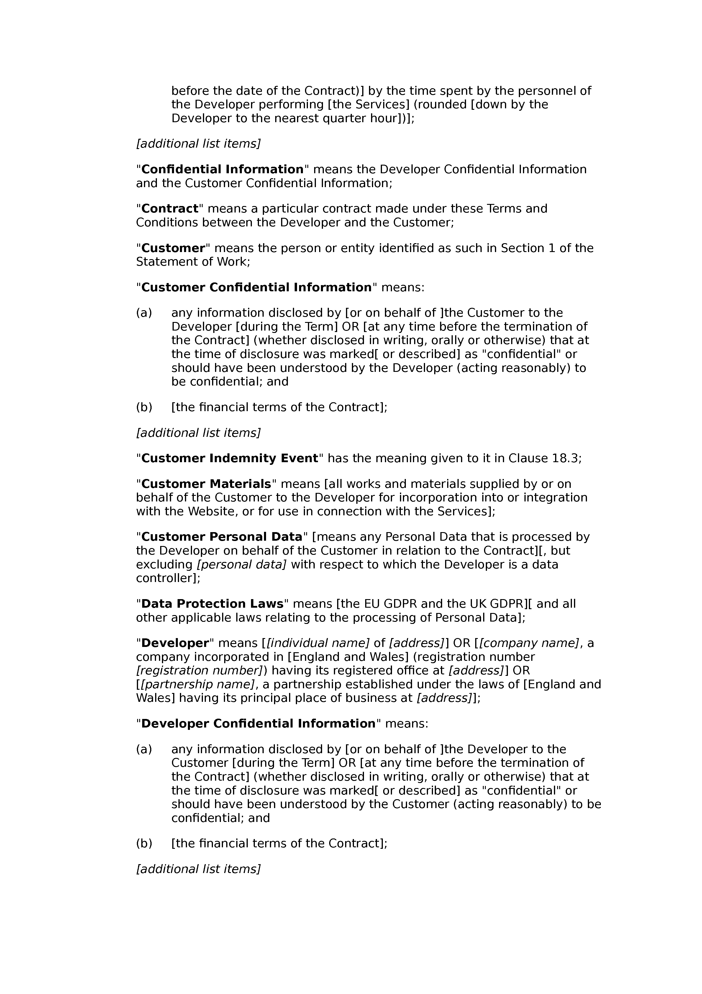 Web design and development terms and conditions (standard) document preview