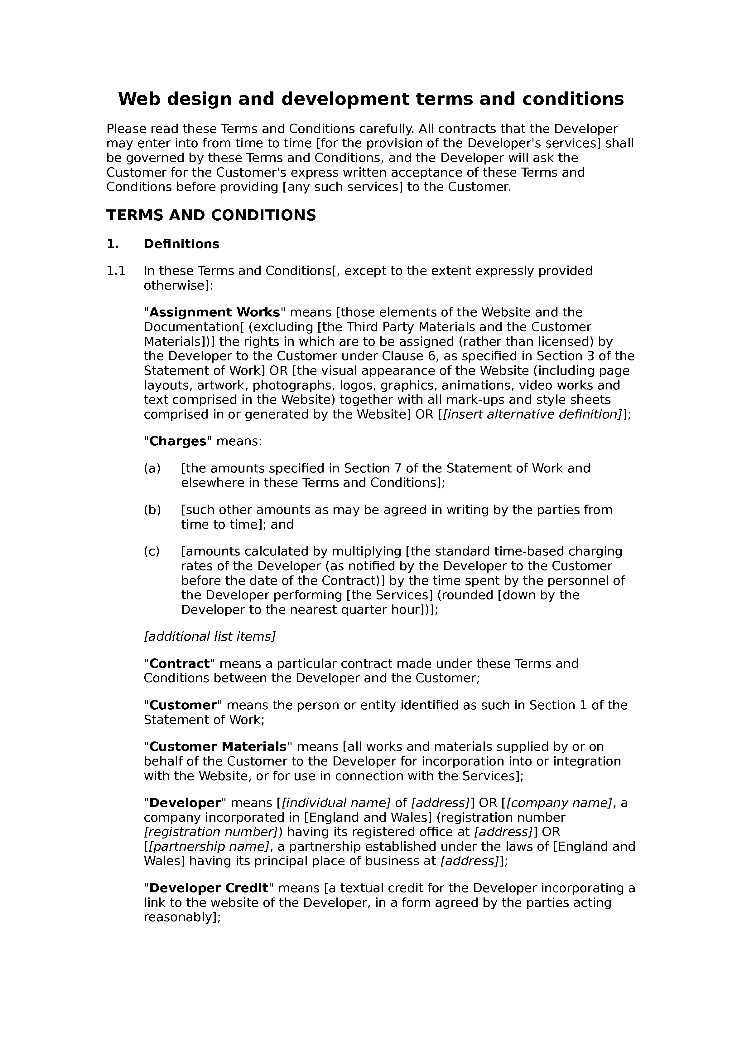 Web design and development terms and conditions (basic) document preview