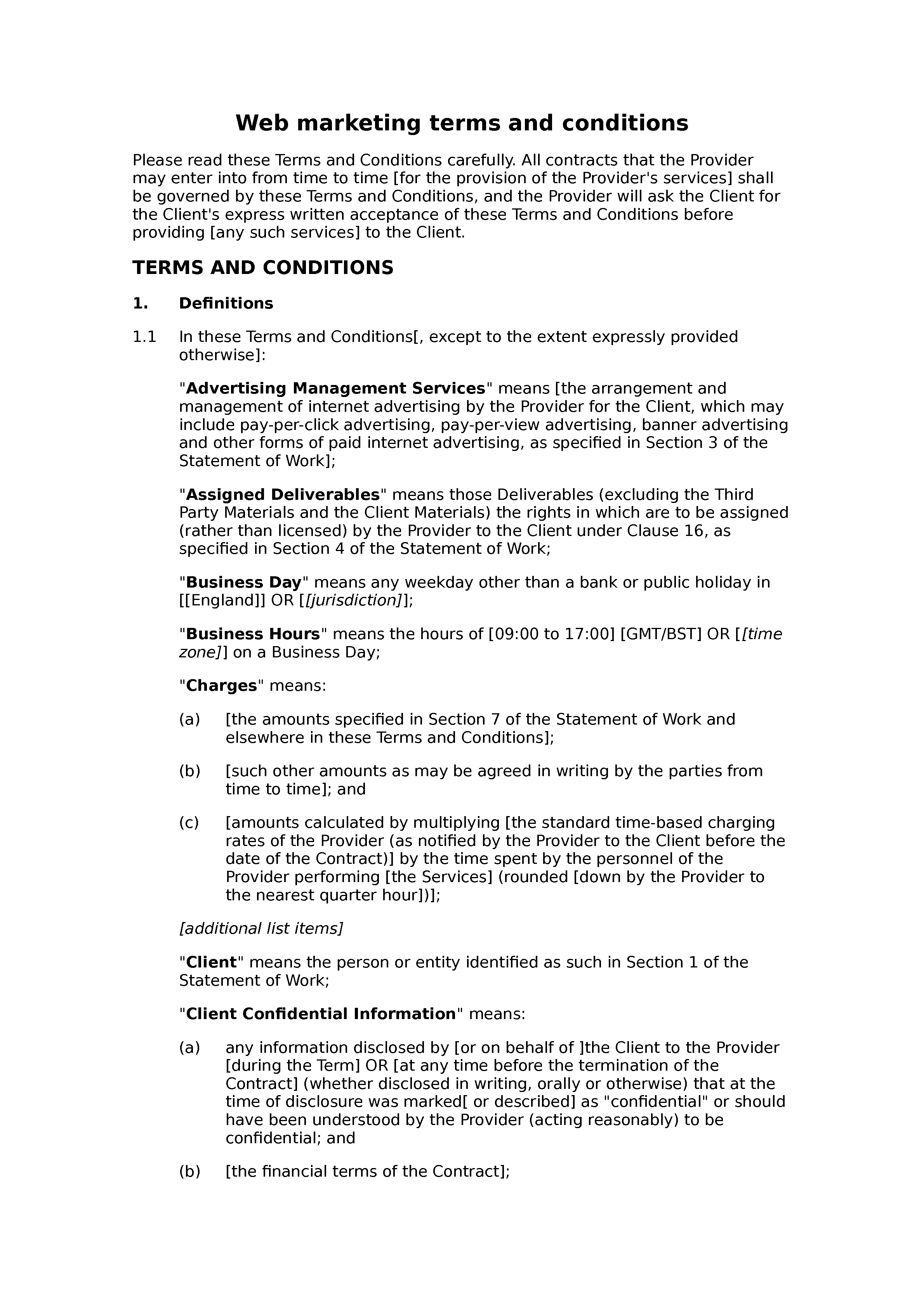 Web marketing terms and conditions document preview
