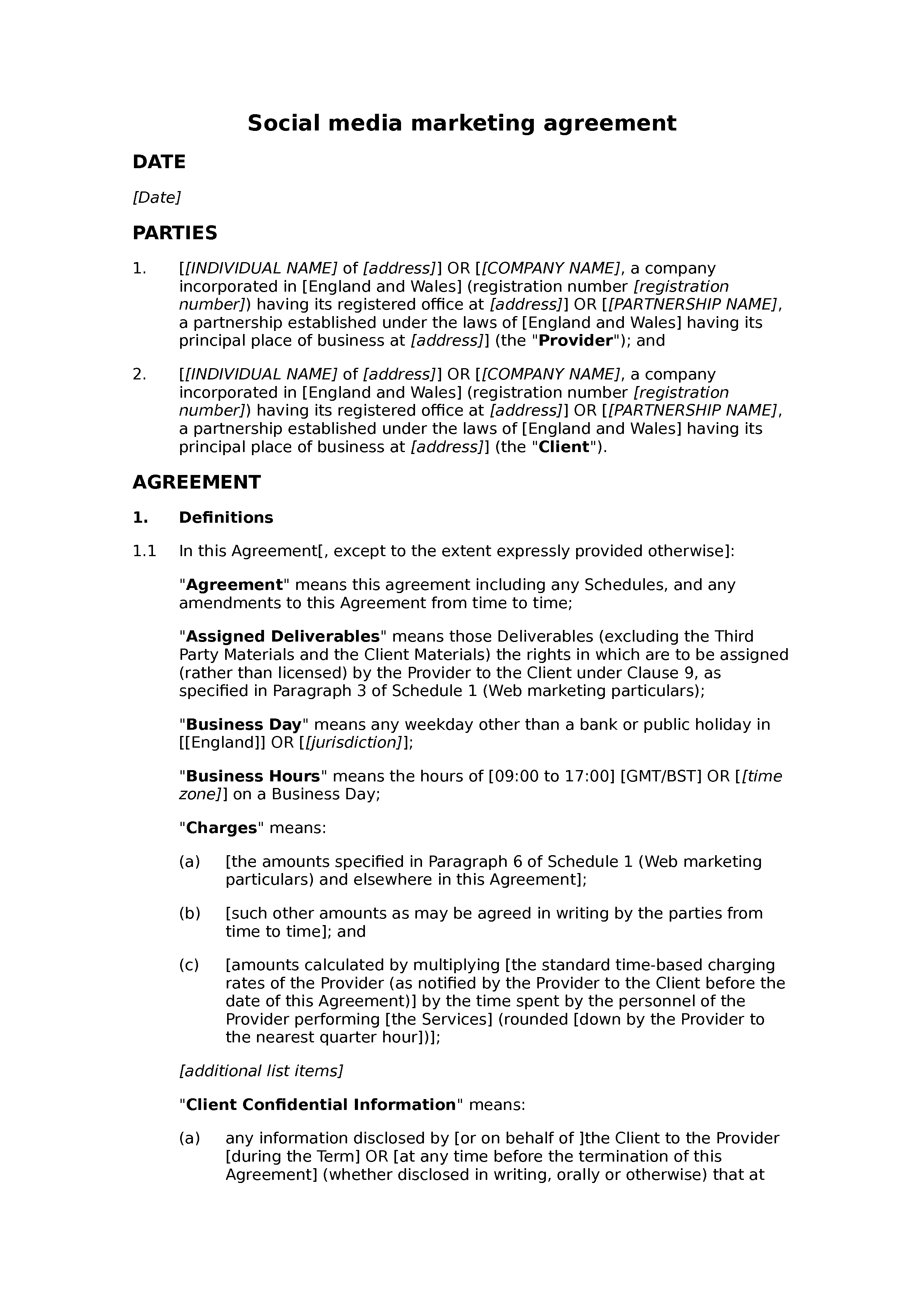 Social media marketing agreement document preview