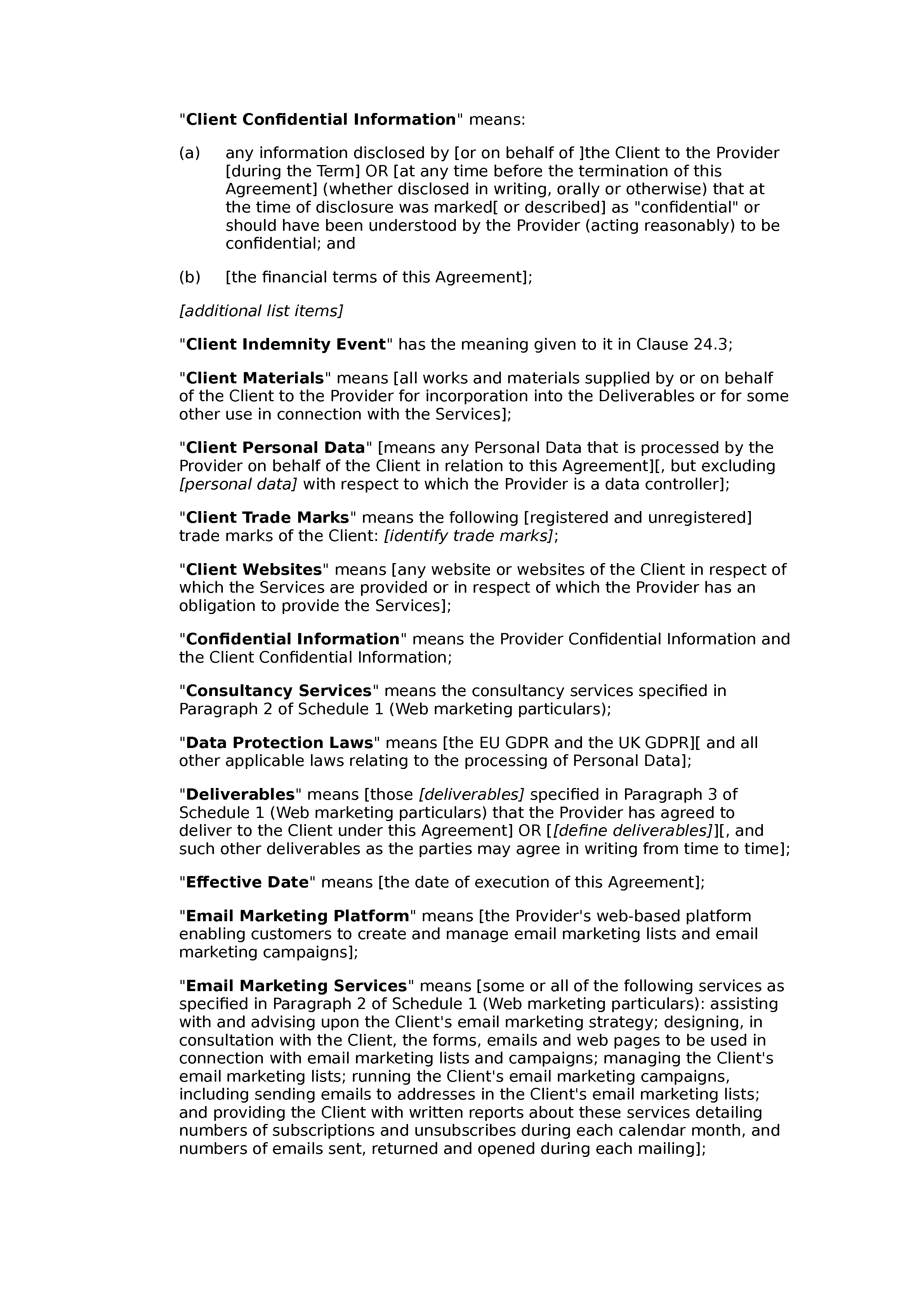 Web marketing agreement document preview