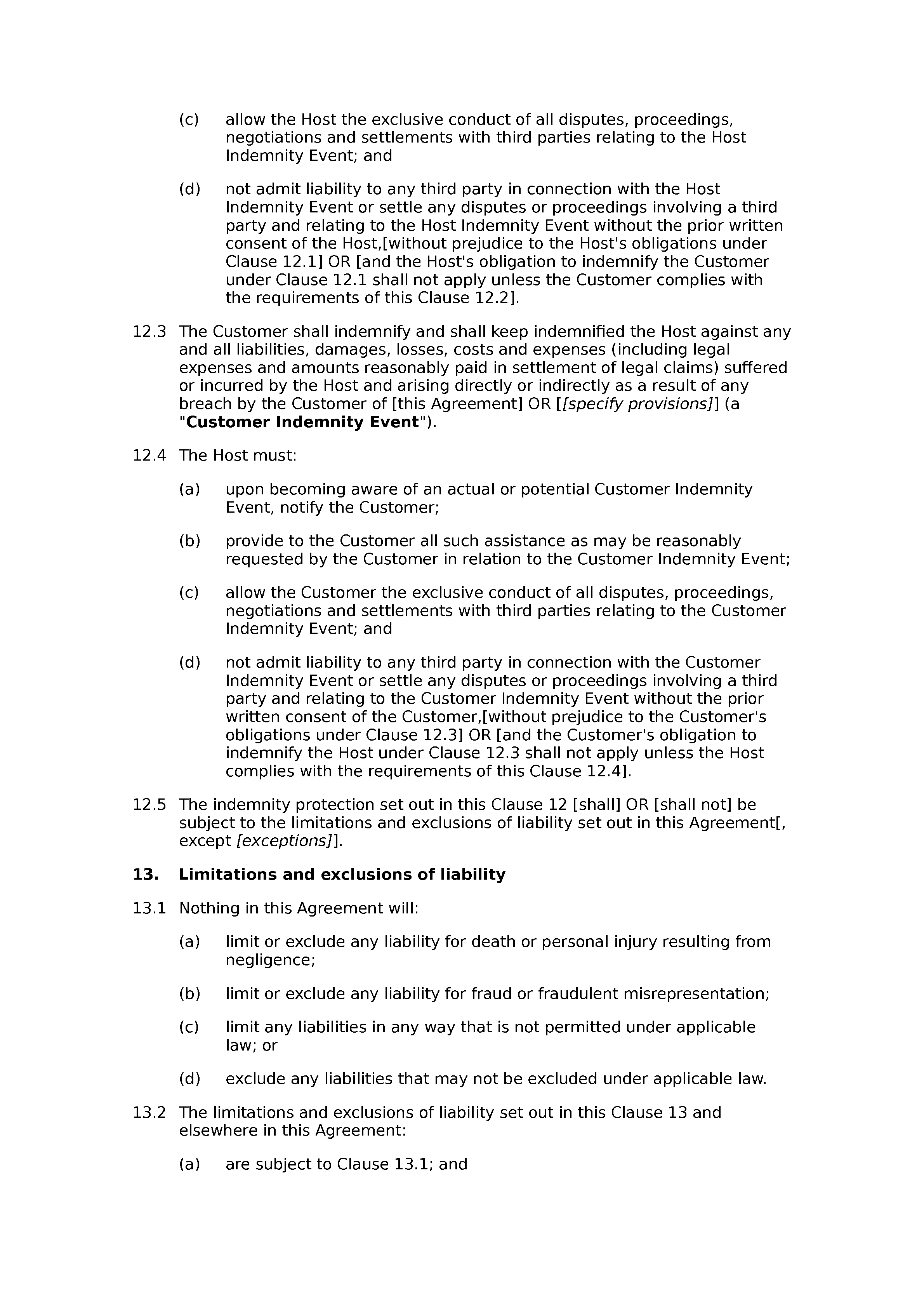Hosting services agreement document preview