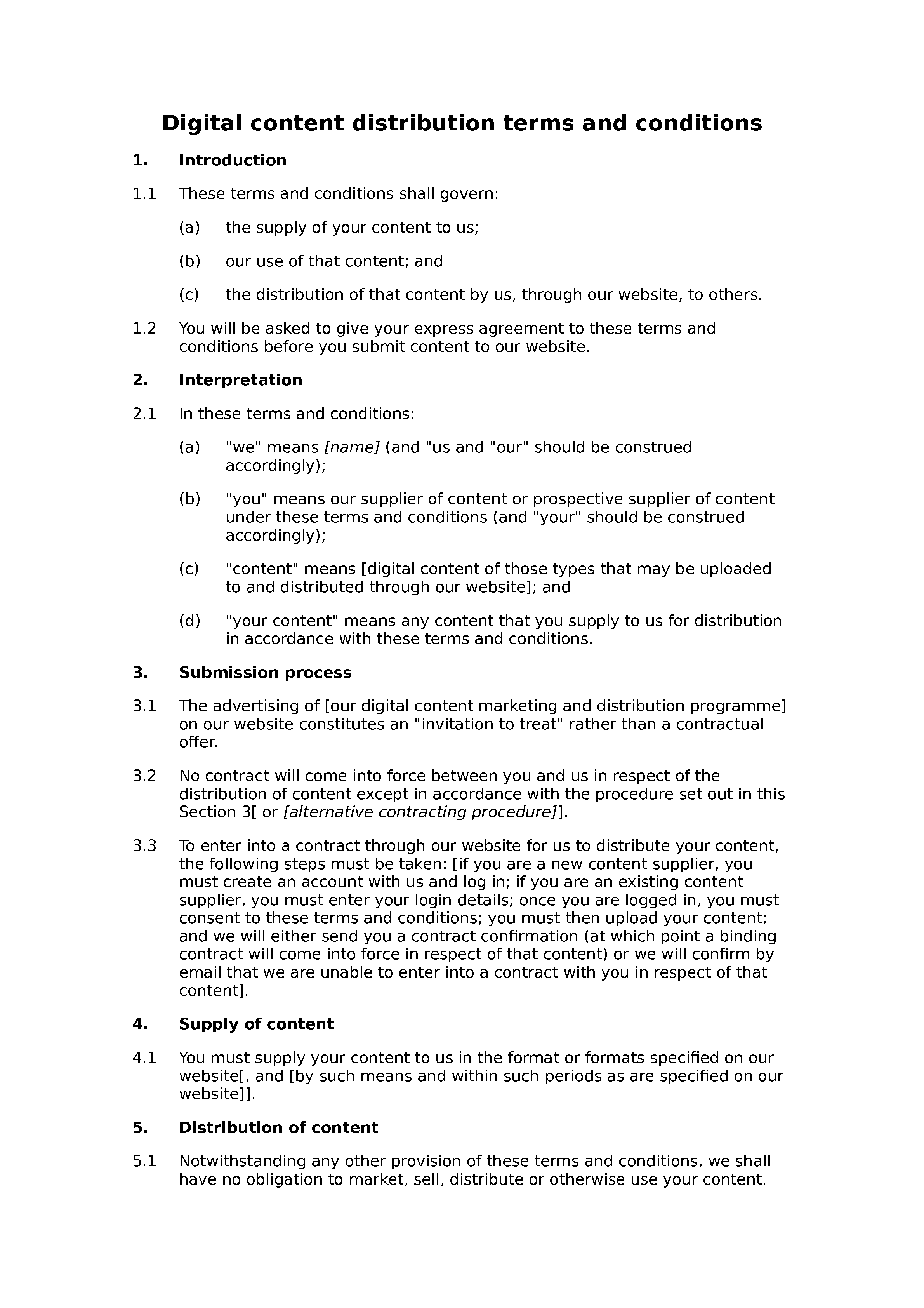 Digital content distribution terms and conditions document preview