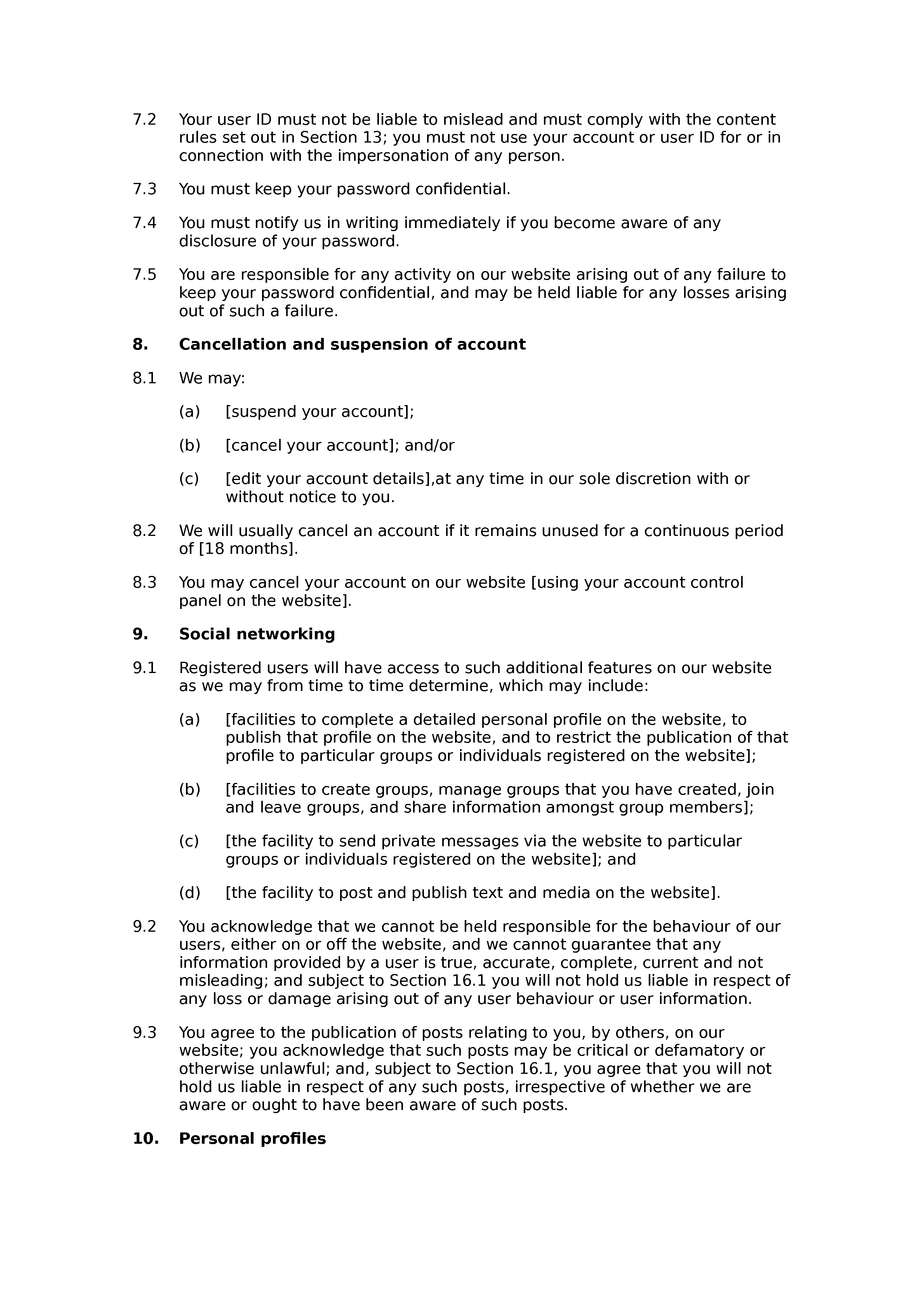 Social network and questions website terms and conditions document preview