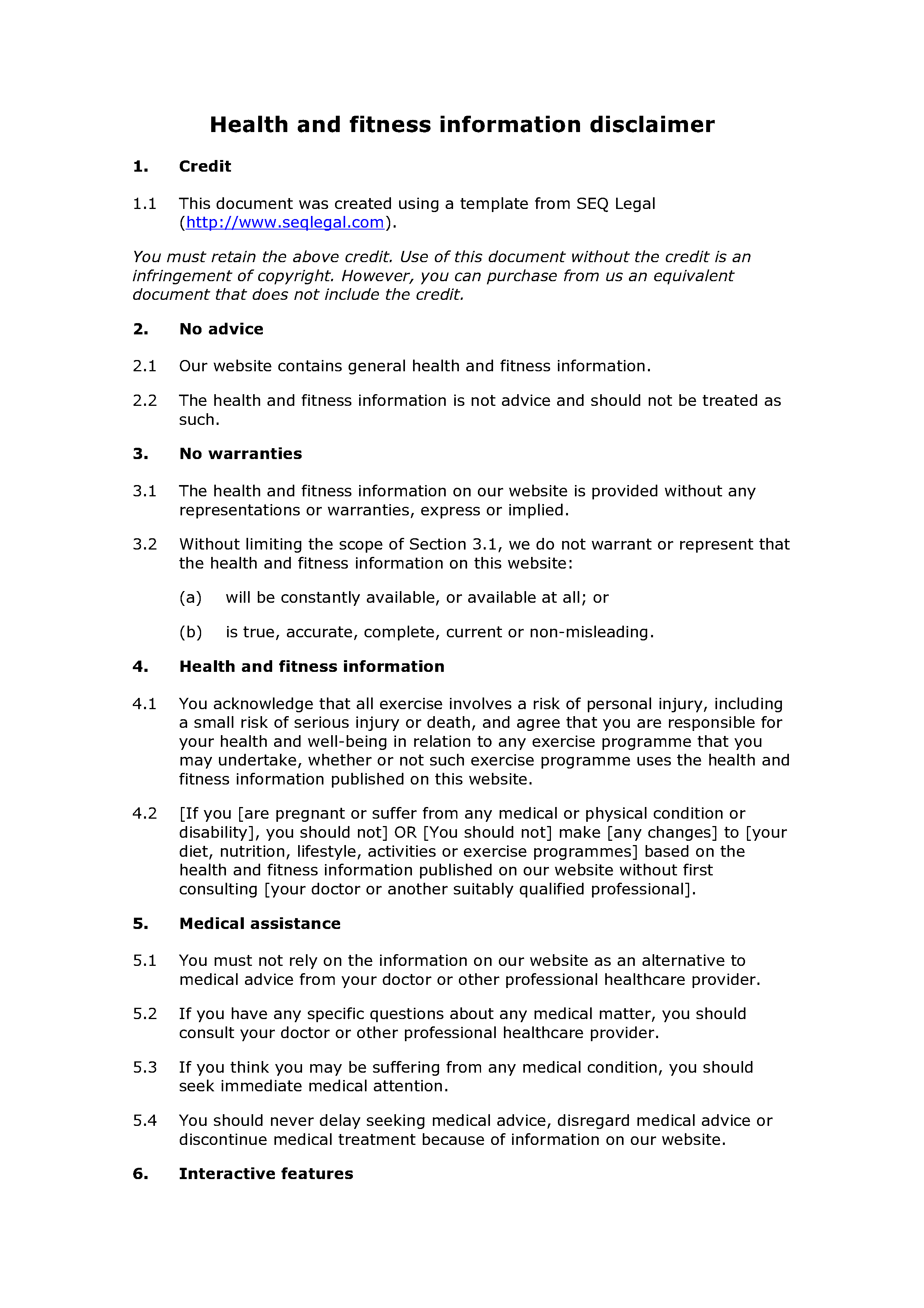 Free health and fitness information disclaimer document preview