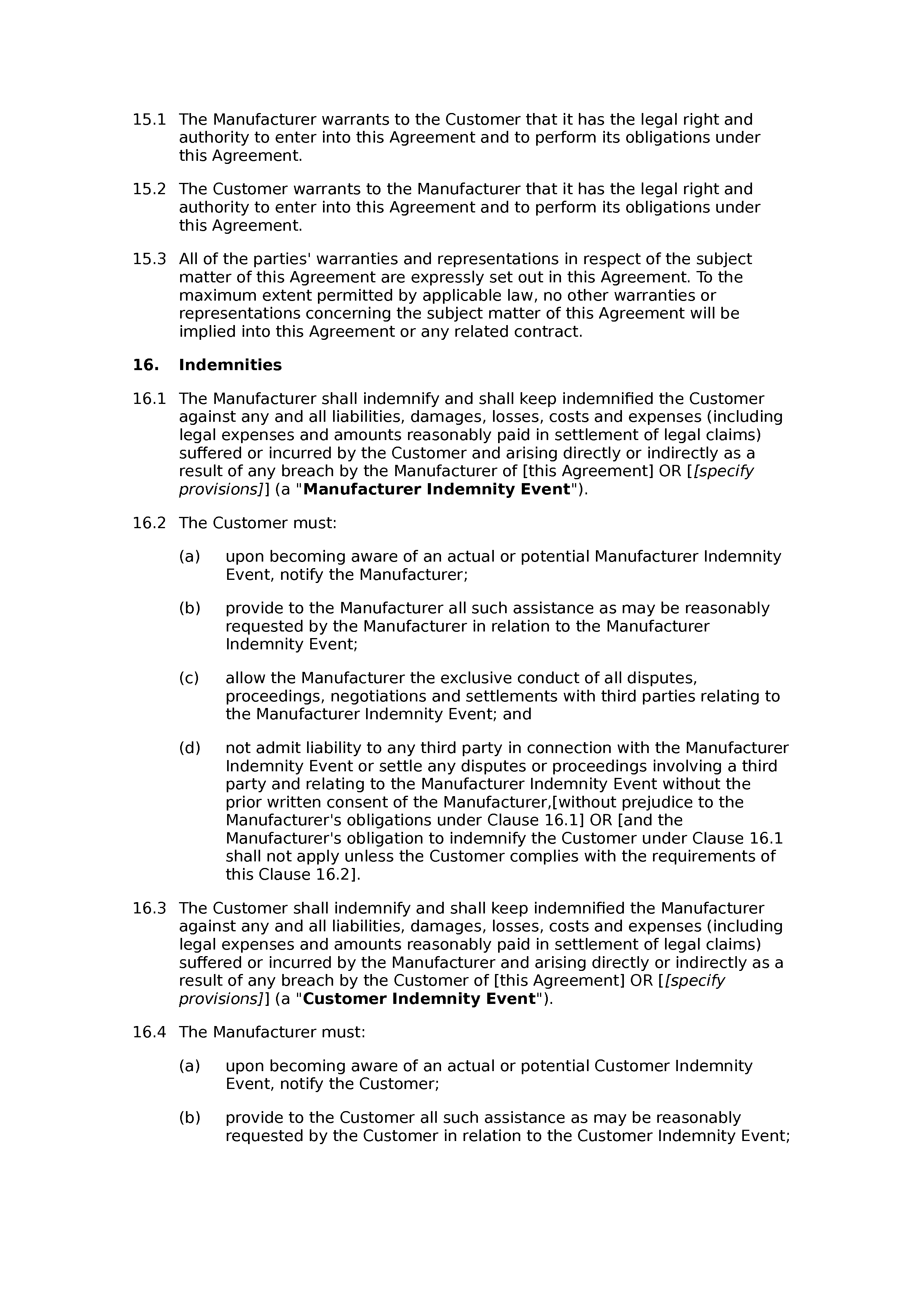 Free Manufacturing Agreement Docular