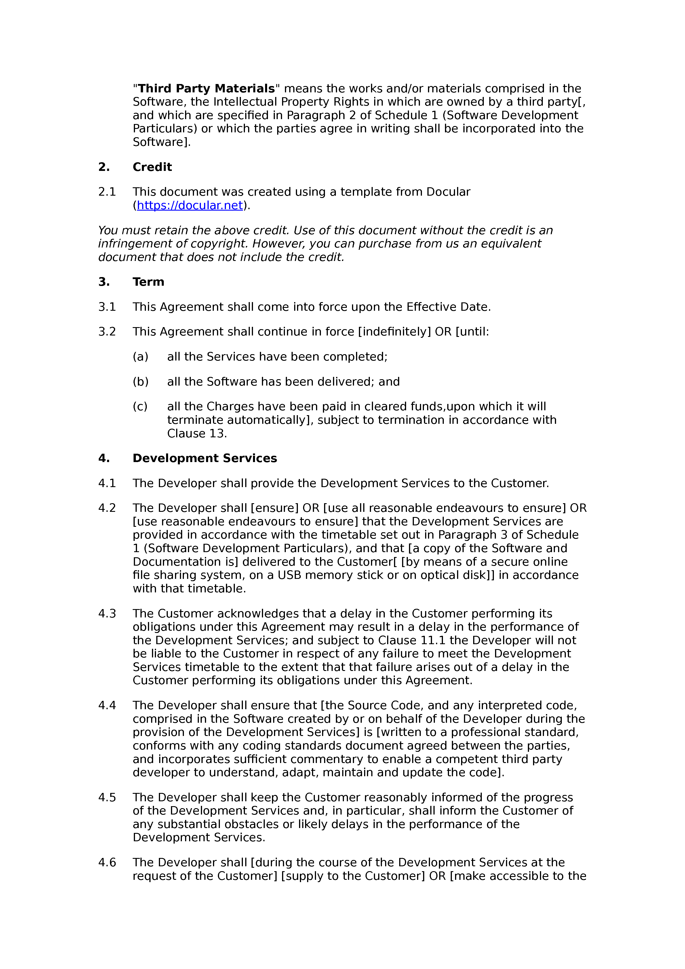 Free software development agreement document preview
