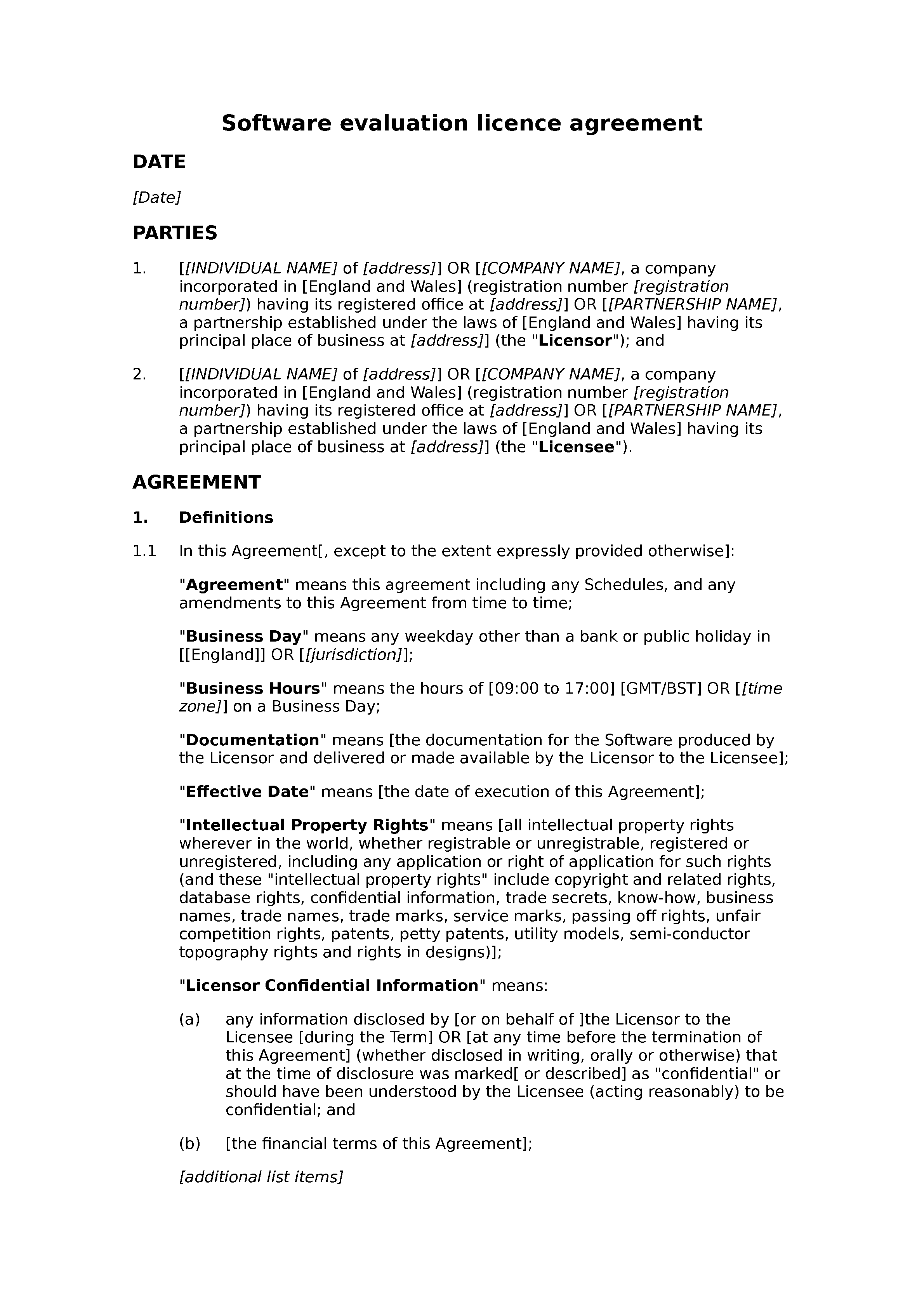 Software evaluation licence agreement document preview